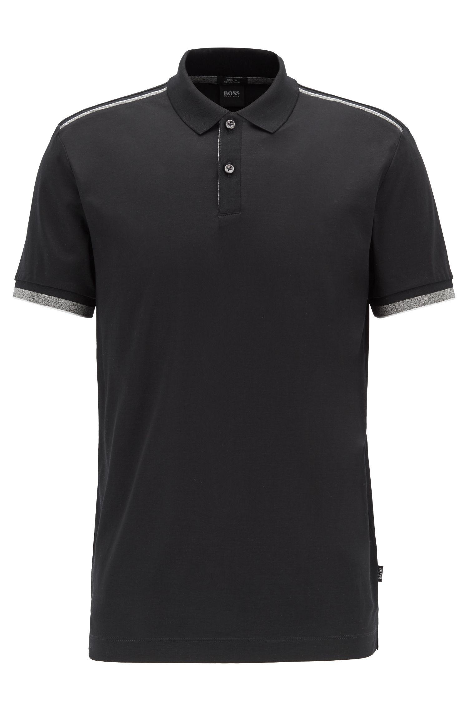 Slim-fit polo met contrasterende strepen op de schouder, Zwart