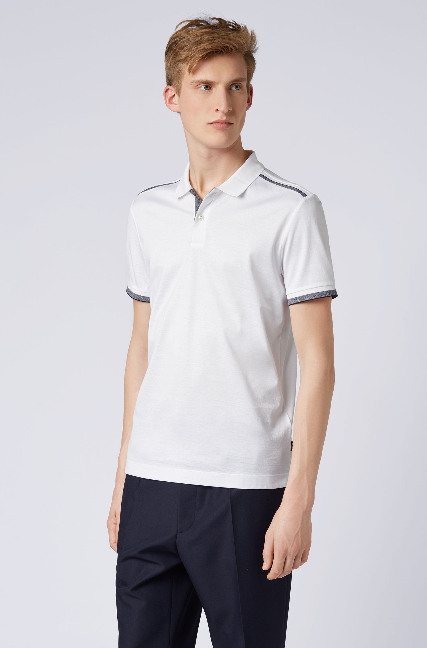 Slim-fit polo shirt with contrast shoulder stripes, White