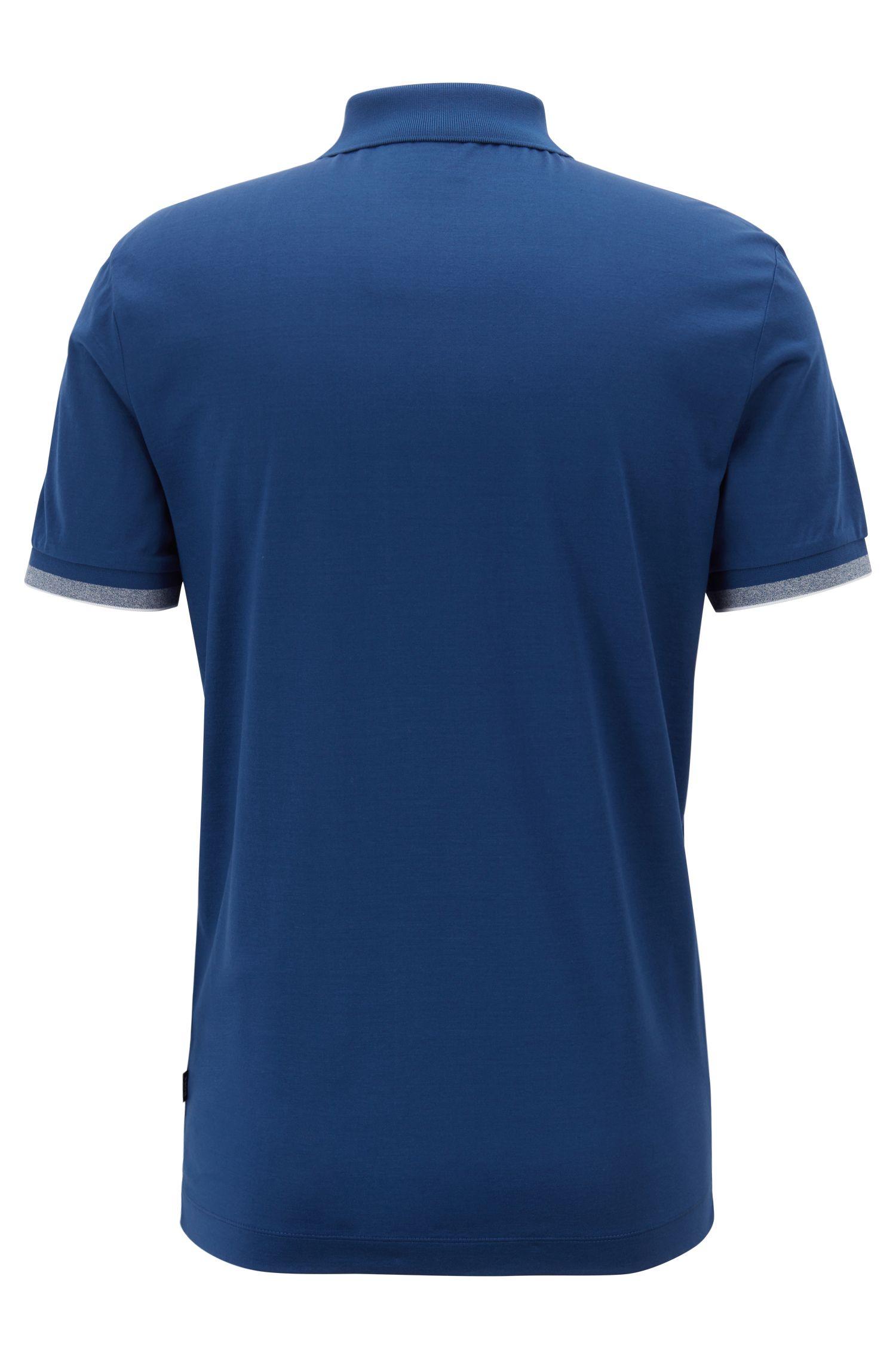 Polo Slim Fit à rayures contrastantes sur les épaules, Bleu foncé