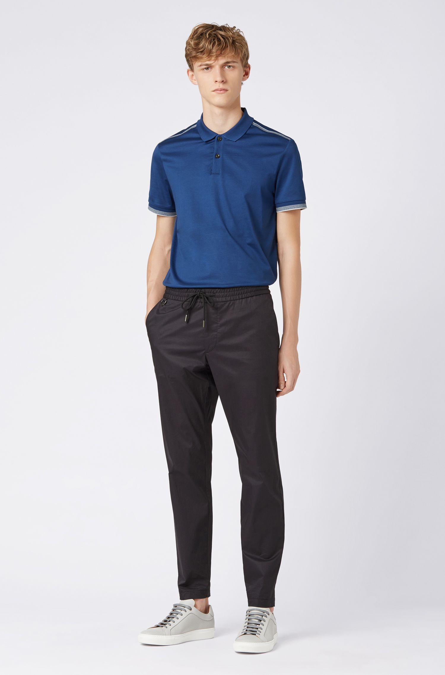 Polo slim fit con raya en contraste en los hombros, Azul oscuro