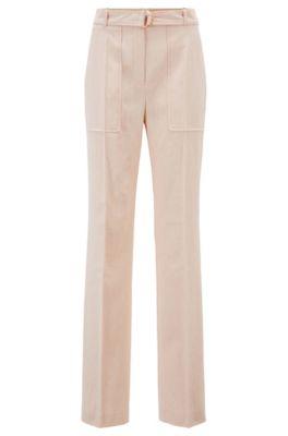 Pantalones relaxed fit en mezcla de algodón italiano, Naranja