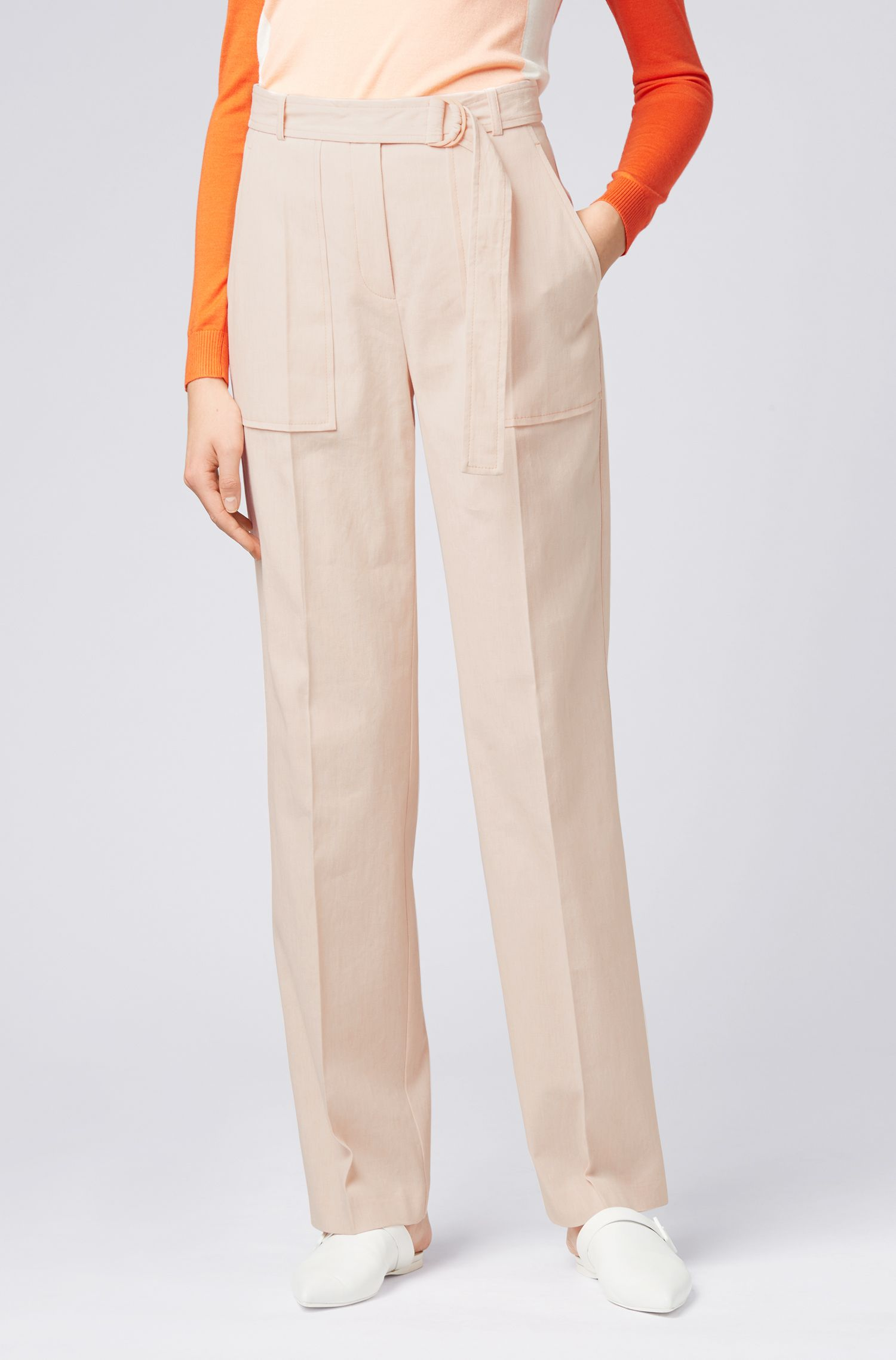 Relaxed-fit trousers in an Italian cotton blend, Orange
