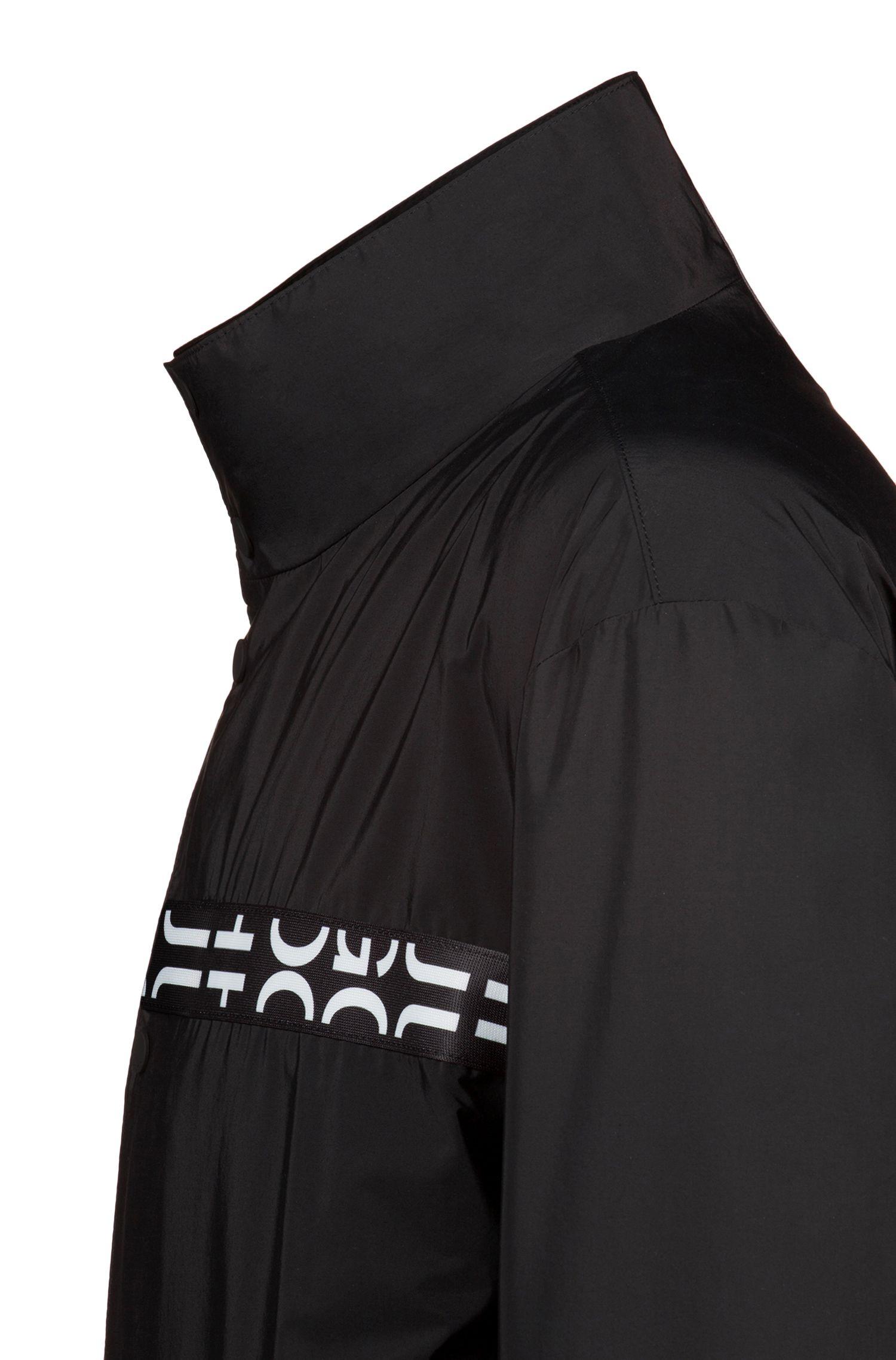 Veste en tissu léger déperlant à bande logo, Noir