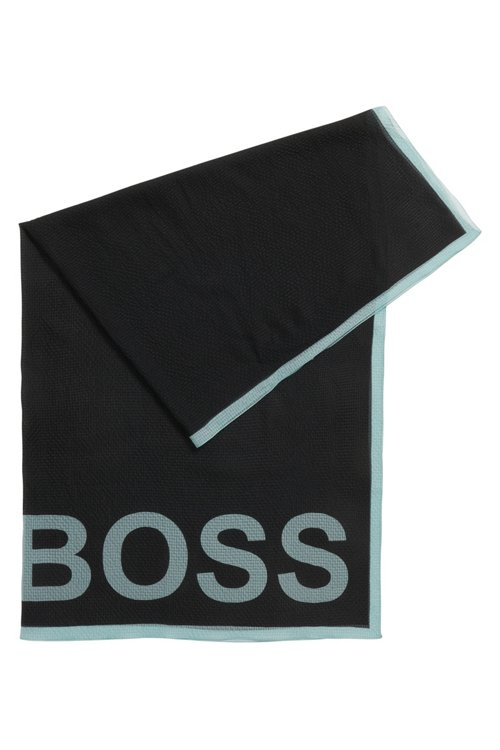 Hugo Boss - Square scarf in pure silk with seersucker effect - 1