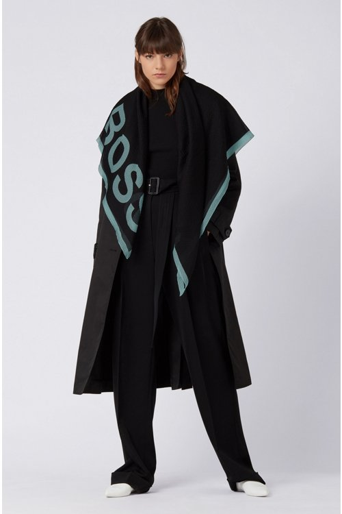 Hugo Boss - Square scarf in pure silk with seersucker effect - 2