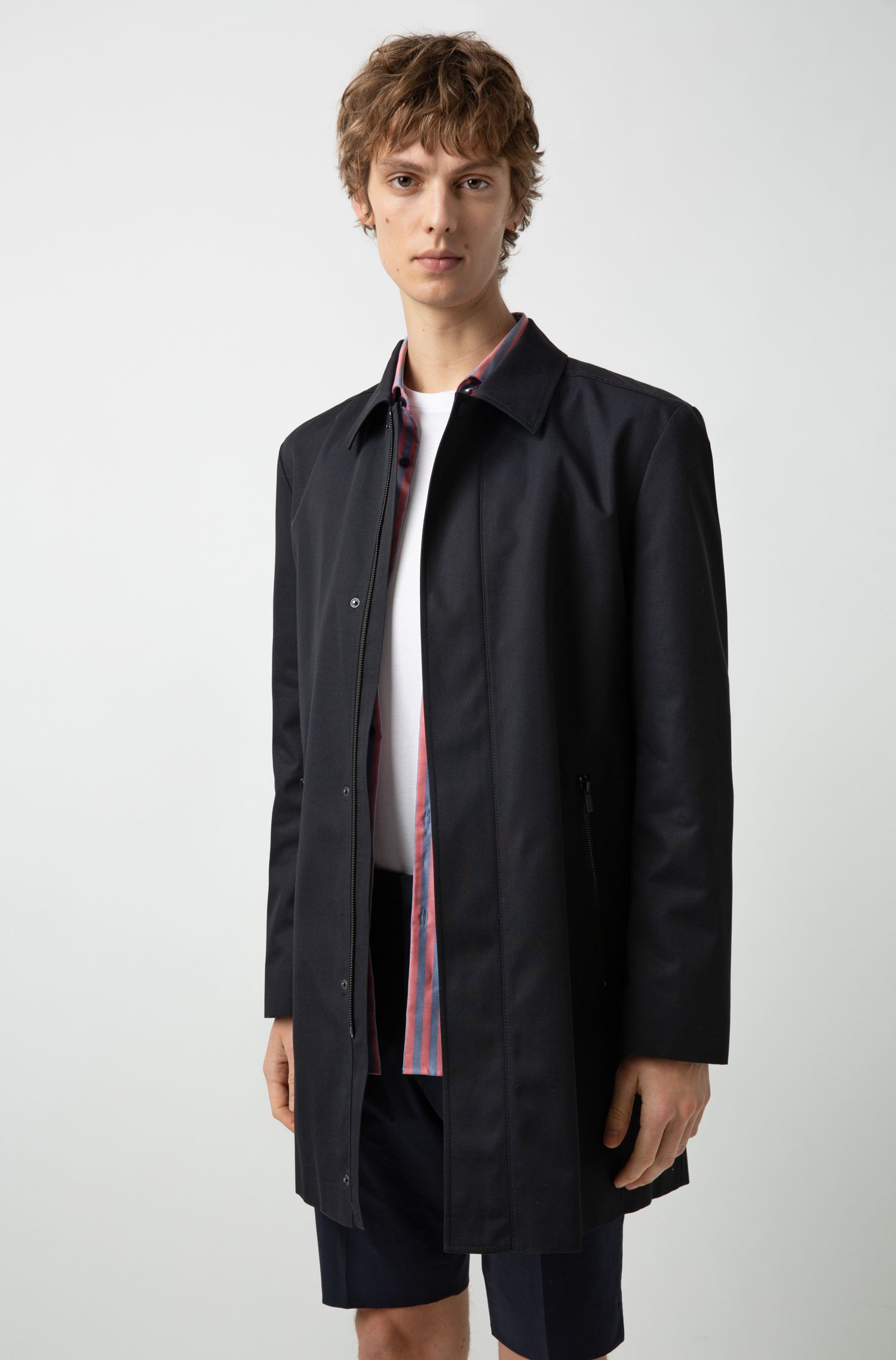 Water-repellent tailored coat with concealed zip, Black