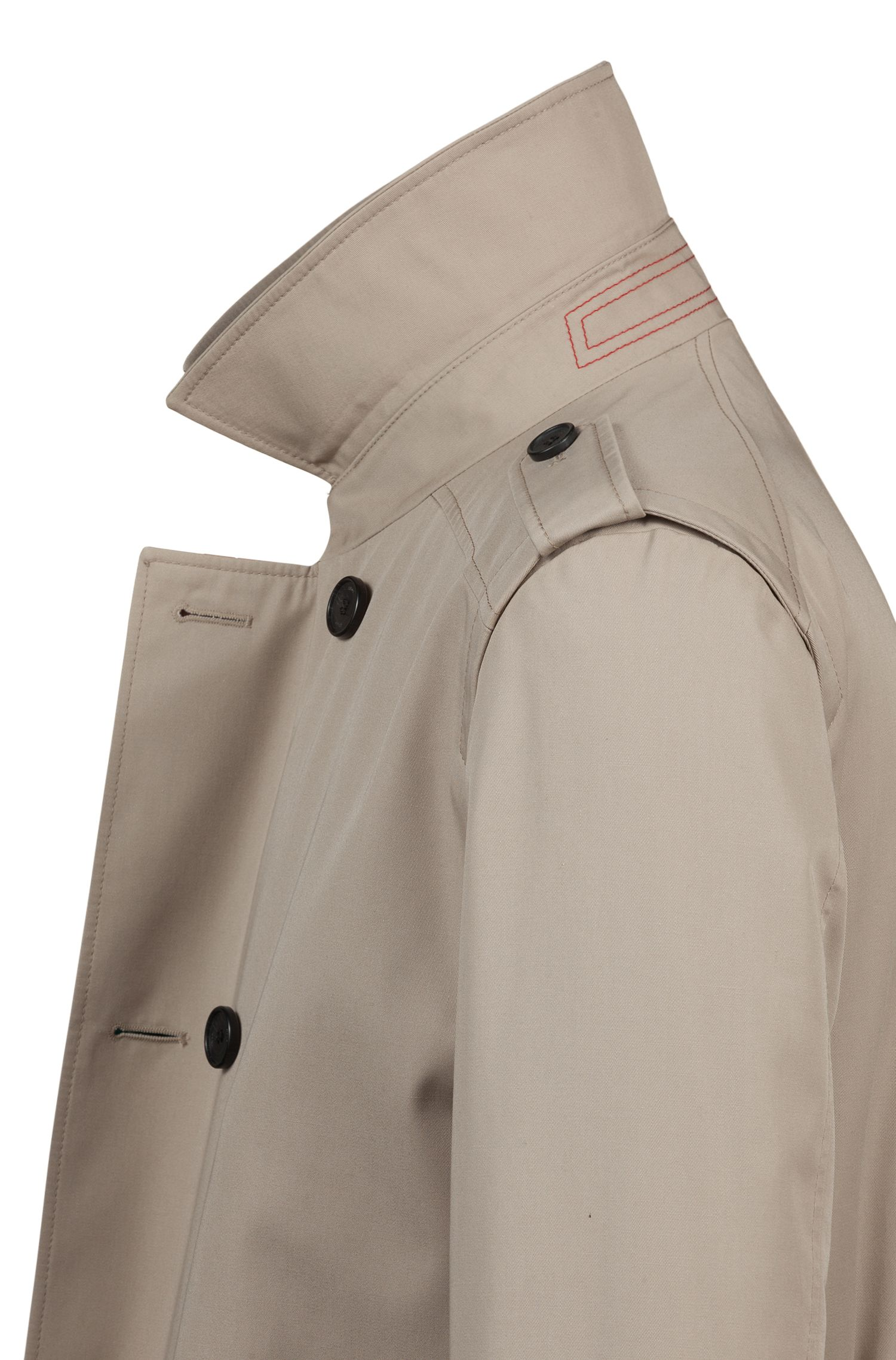 Double-breasted trench coat with water-repellent outer, Beige