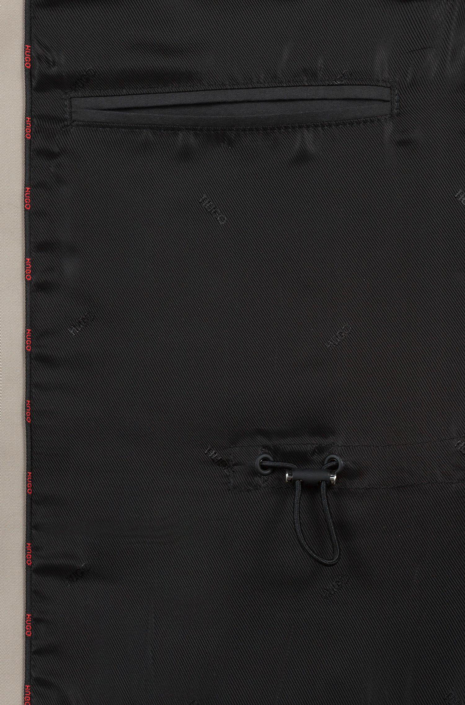 Zweireihiger Regular-Fit Trenchcoat aus wasserabweisendem Material-Mix, Beige