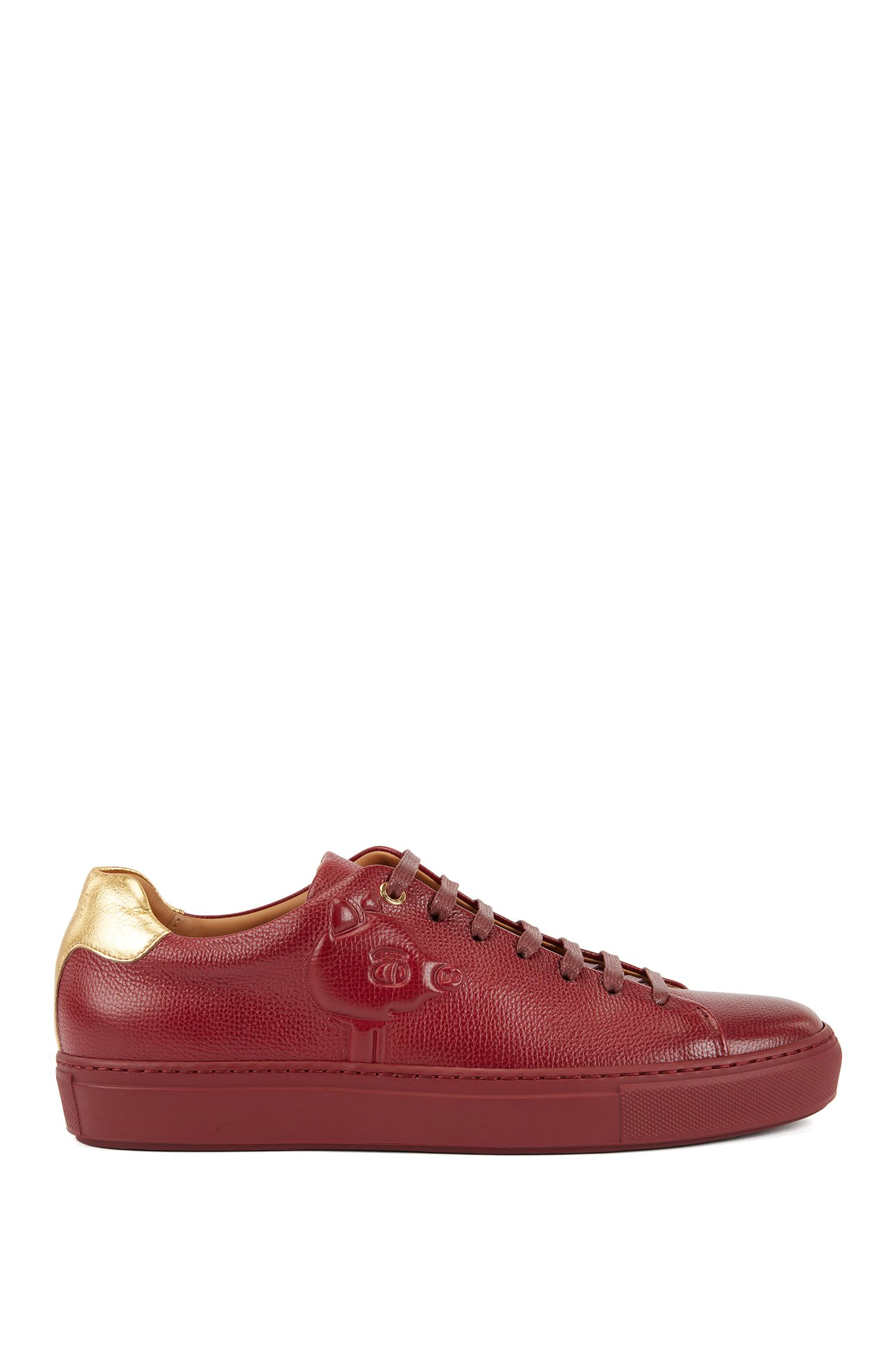 Limited-edition leather trainers with embossed Jeremyville pig, Dark Red