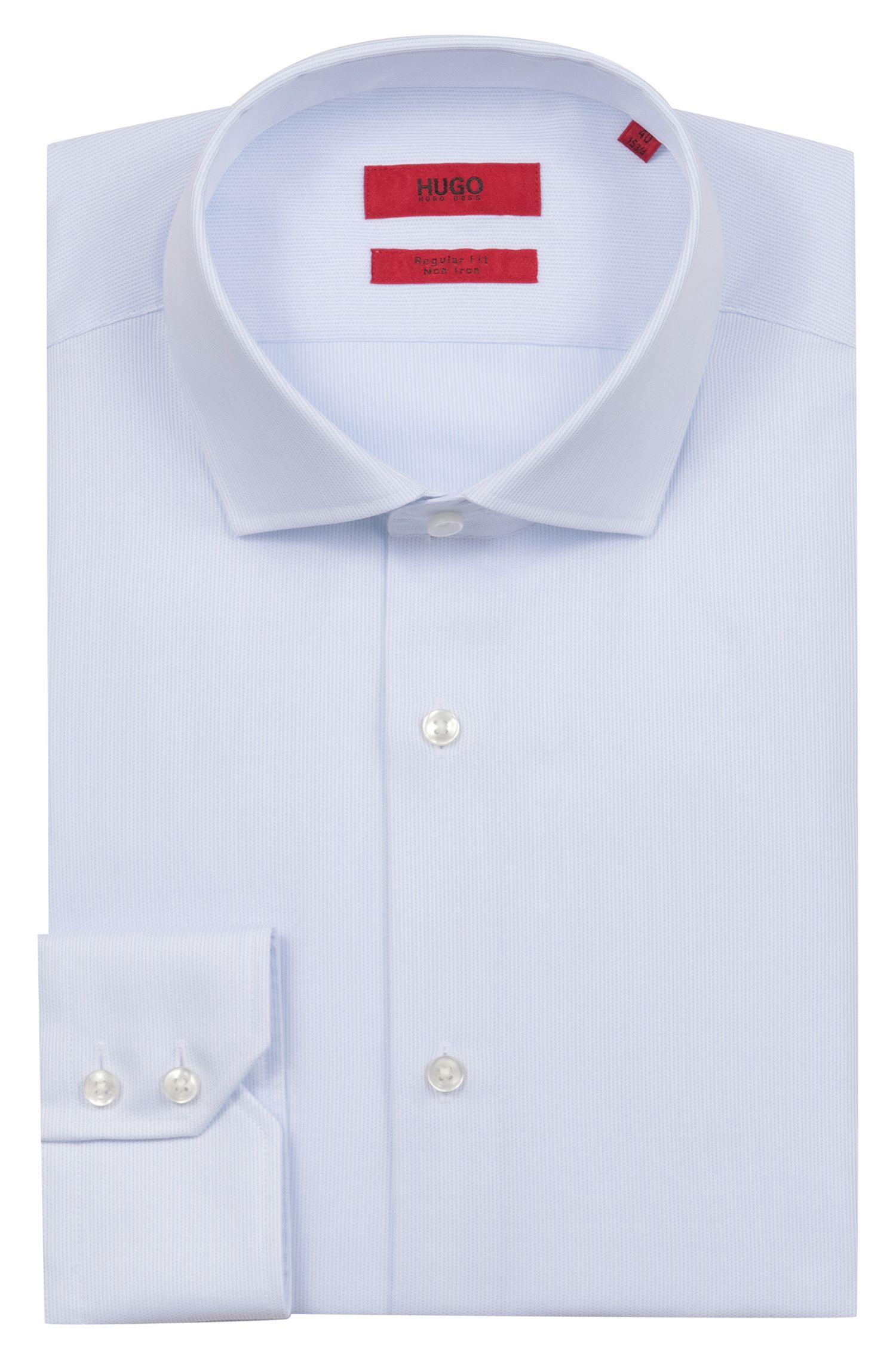 Regular-Fit Hemd aus bügelleichter Baumwolle, Hellblau