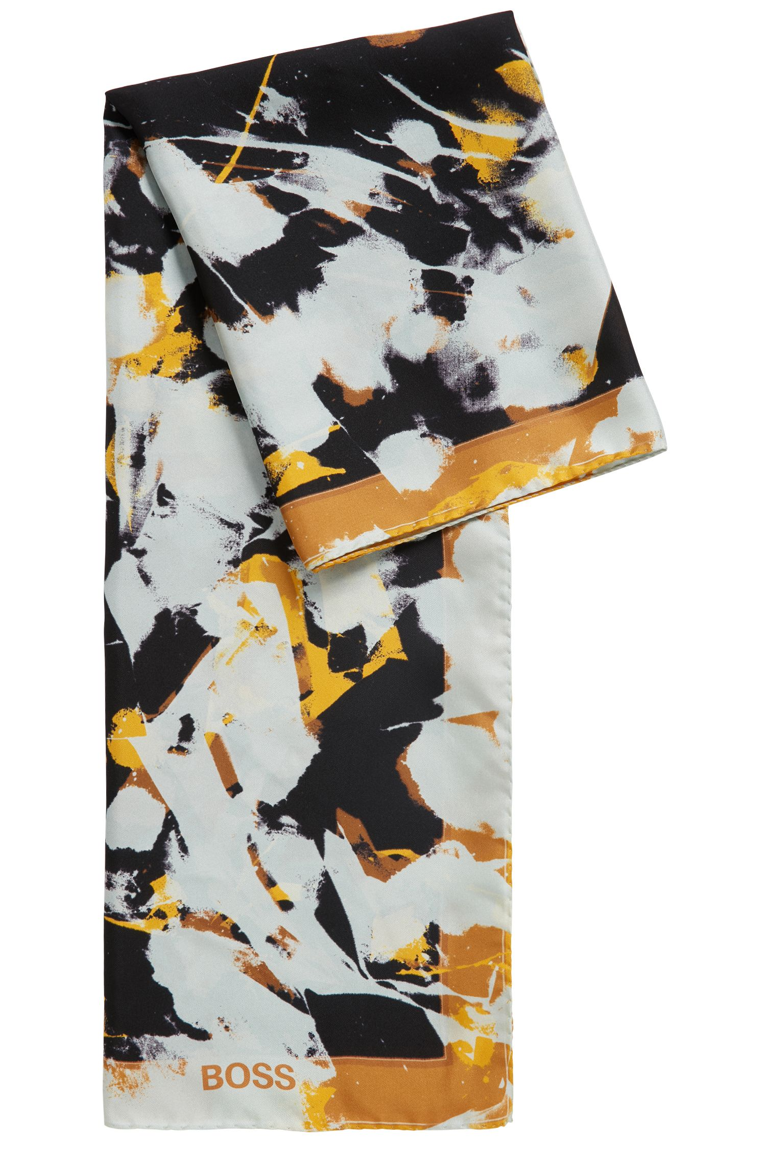 Foulard scarf in pure silk with abstract floral print, Patterned
