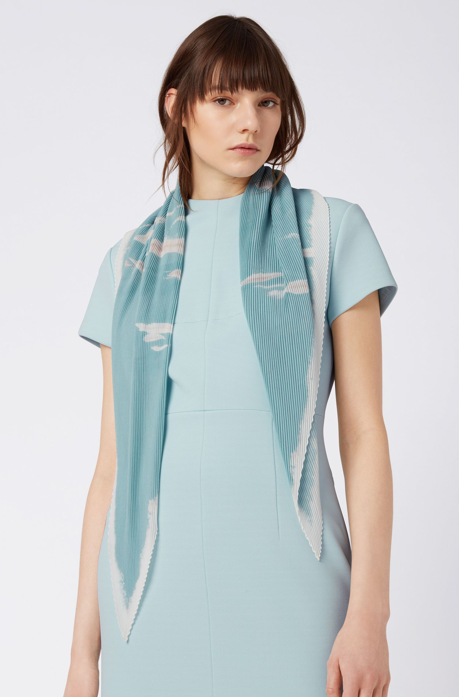 Square plissé scarf with signature print, Patterned