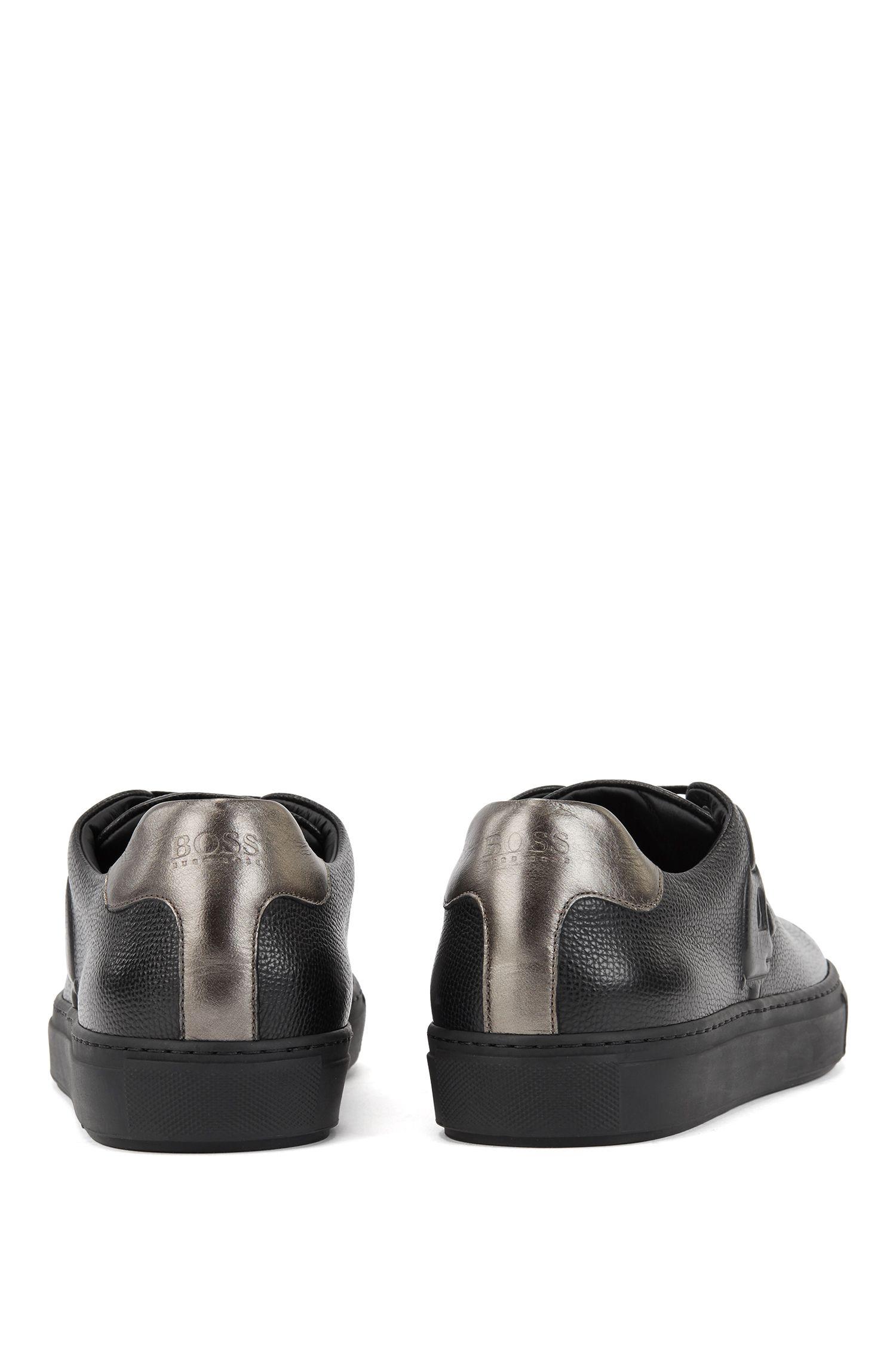 Limited edition leren sneakers met Jeremyville-konijn in reliëf, Zwart