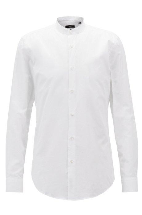 Chemise Slim Fit en coton et lin italiens, Blanc