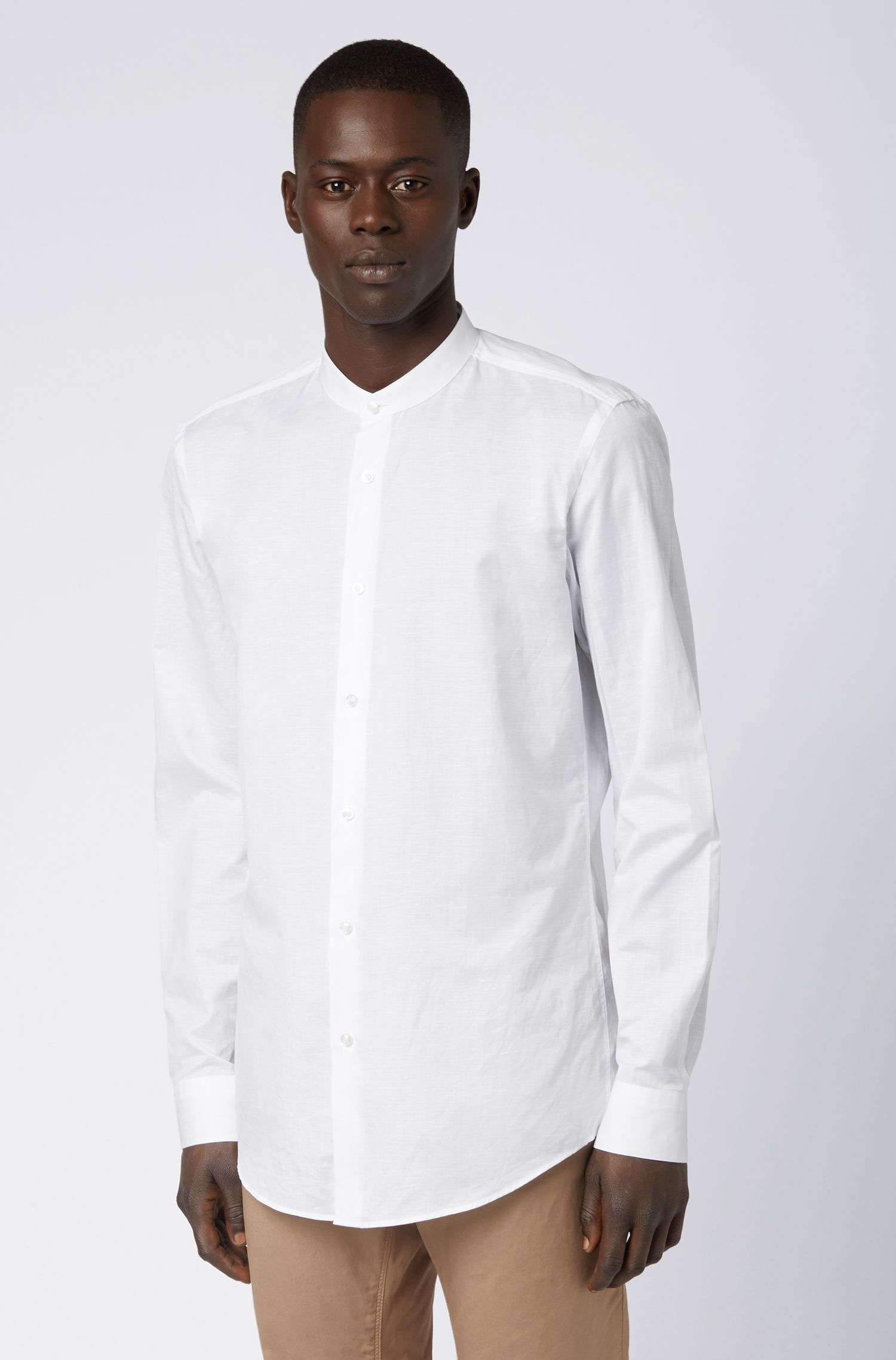 Slim-fit shirt in an Italian cotton-linen blend, White