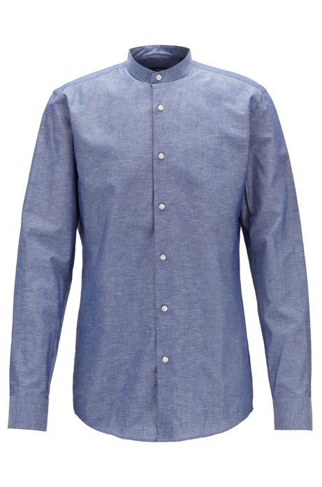 Chemise Slim Fit en coton et lin italiens, Bleu foncé
