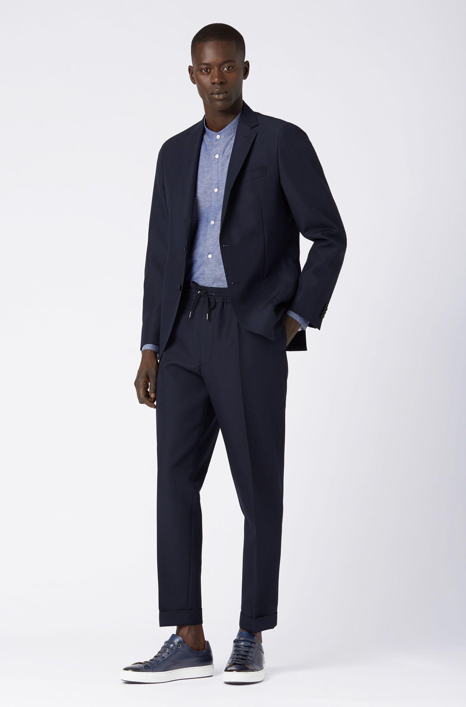Slim-Fit Hemd aus italienischer Baumwolle mit Leinen, Dunkelblau