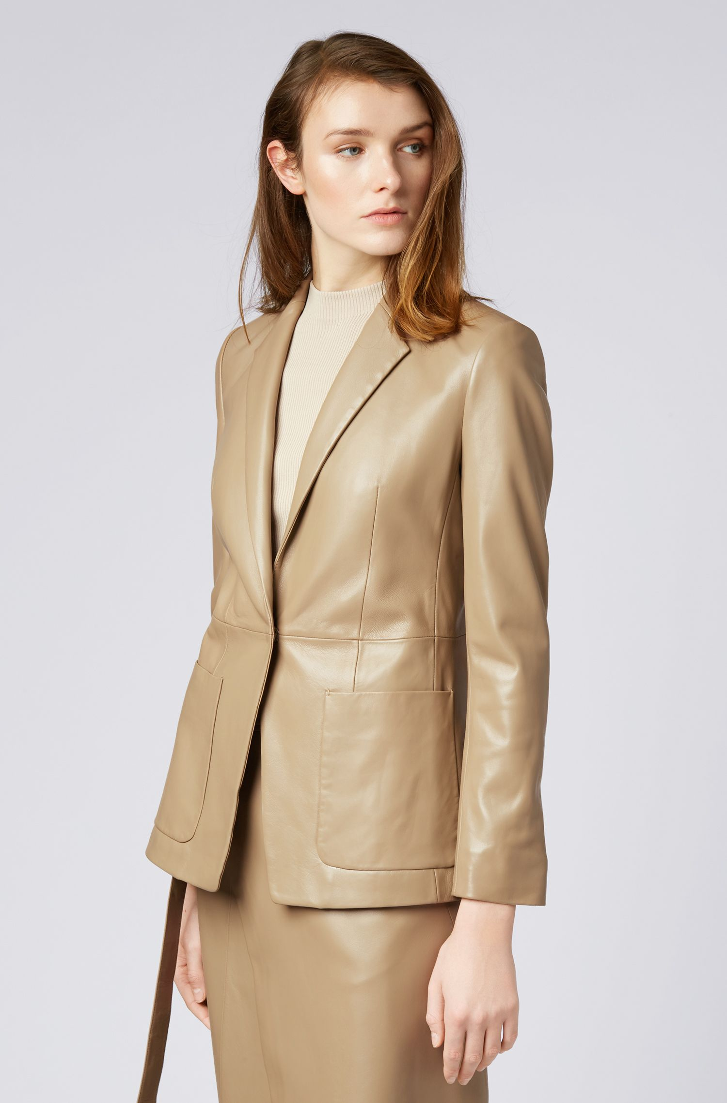 Regular-fit jacket in lambskin with concealed closure, Open Brown