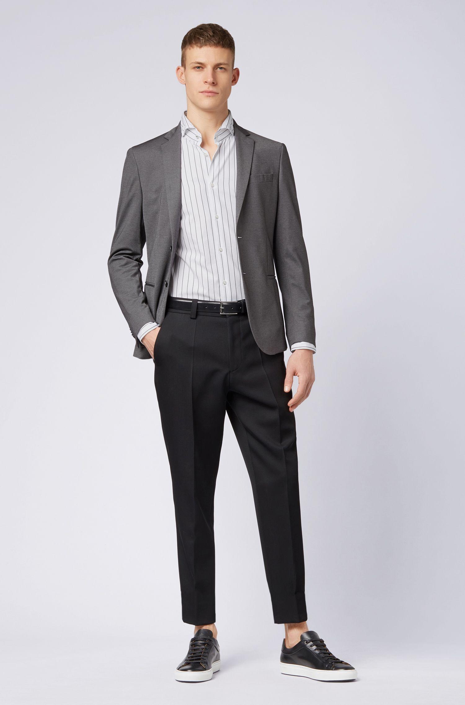 Gestreiftes Slim-Fit Hemd aus gewaschener Baumwolle, Weiß