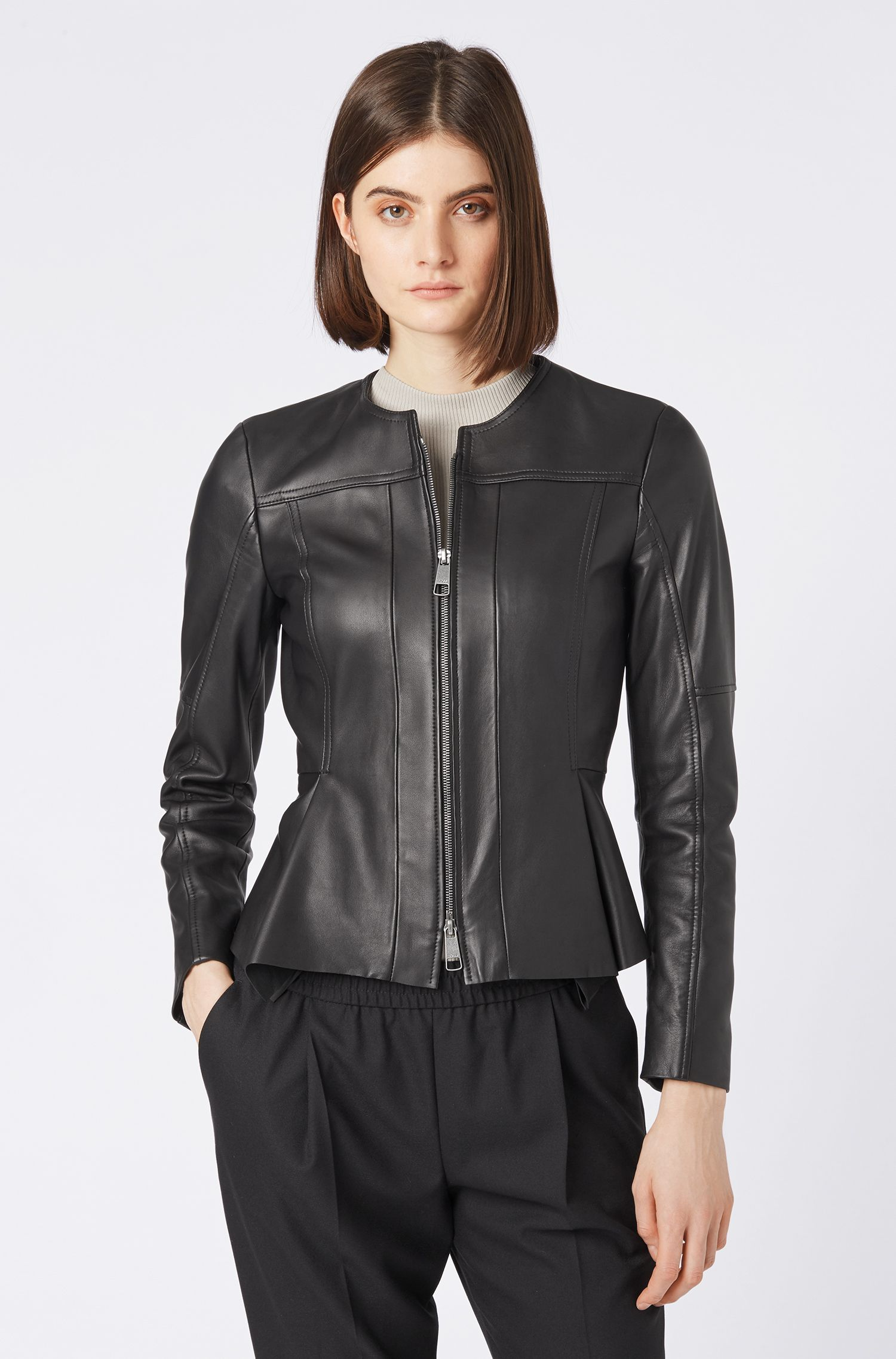 Sim-fit biker jacket in nappa lambskin with zip, Black