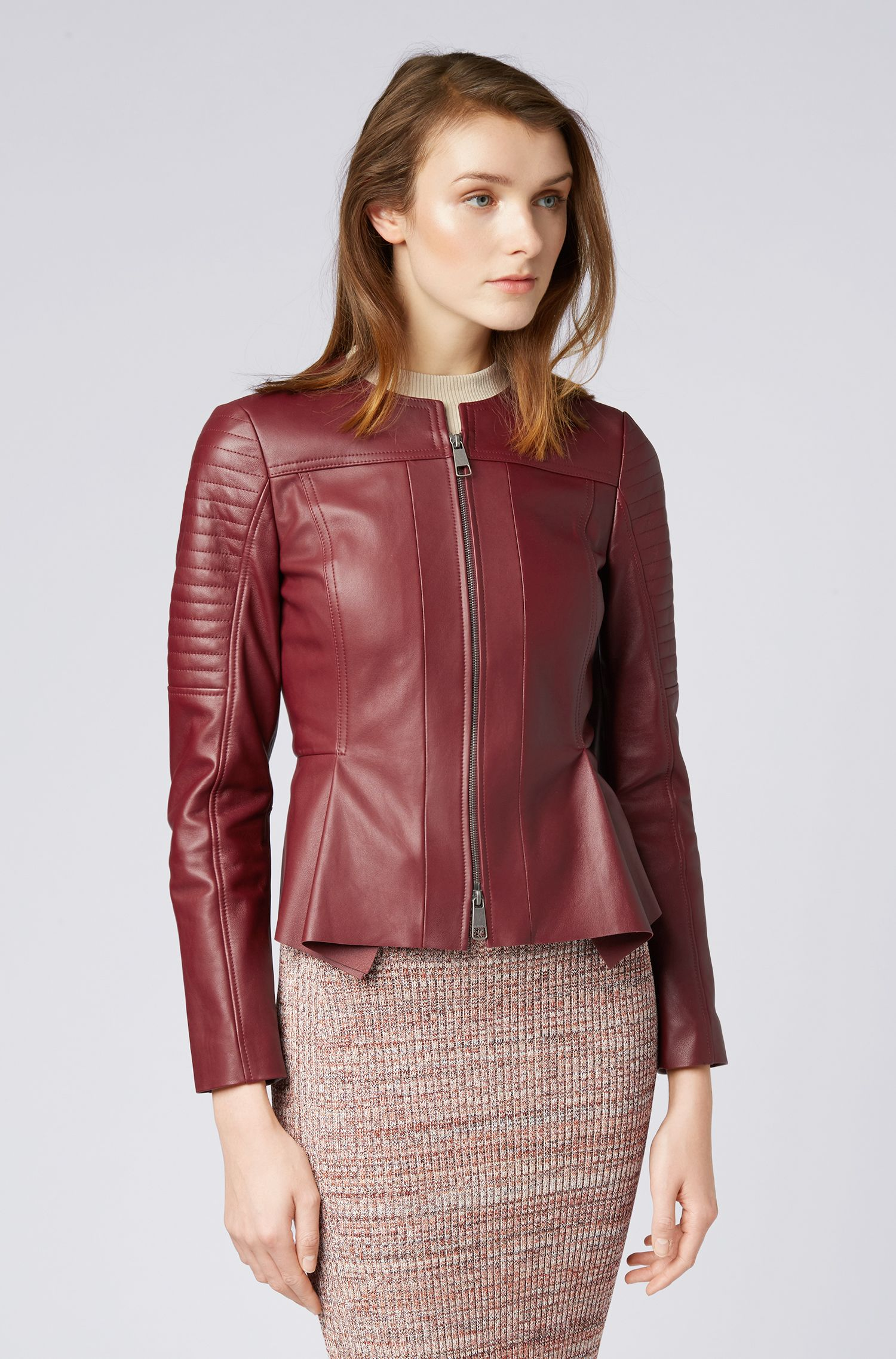 Sim-fit biker jacket in nappa lambskin with zip, Dark Red