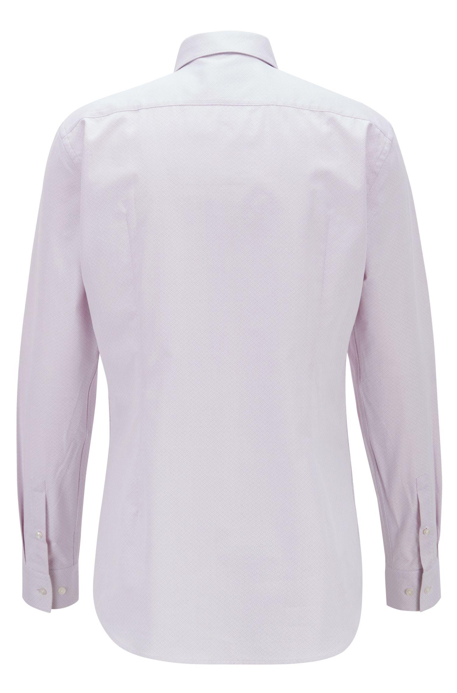 Camisa slim fit en algodón italiano con motivo de rombos, Rosa oscuro