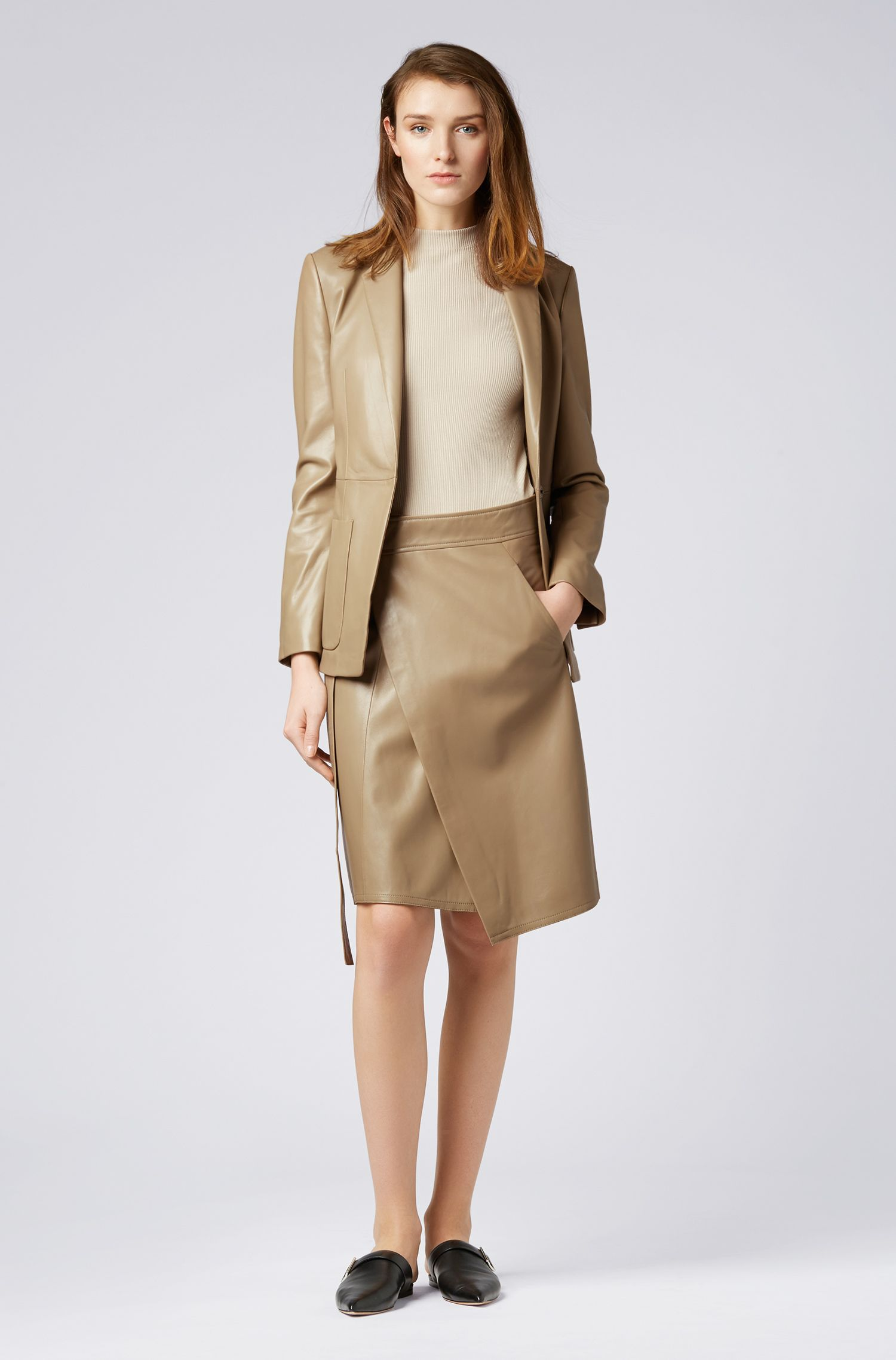 A-line wrap skirt in lambskin with belt, Open Brown