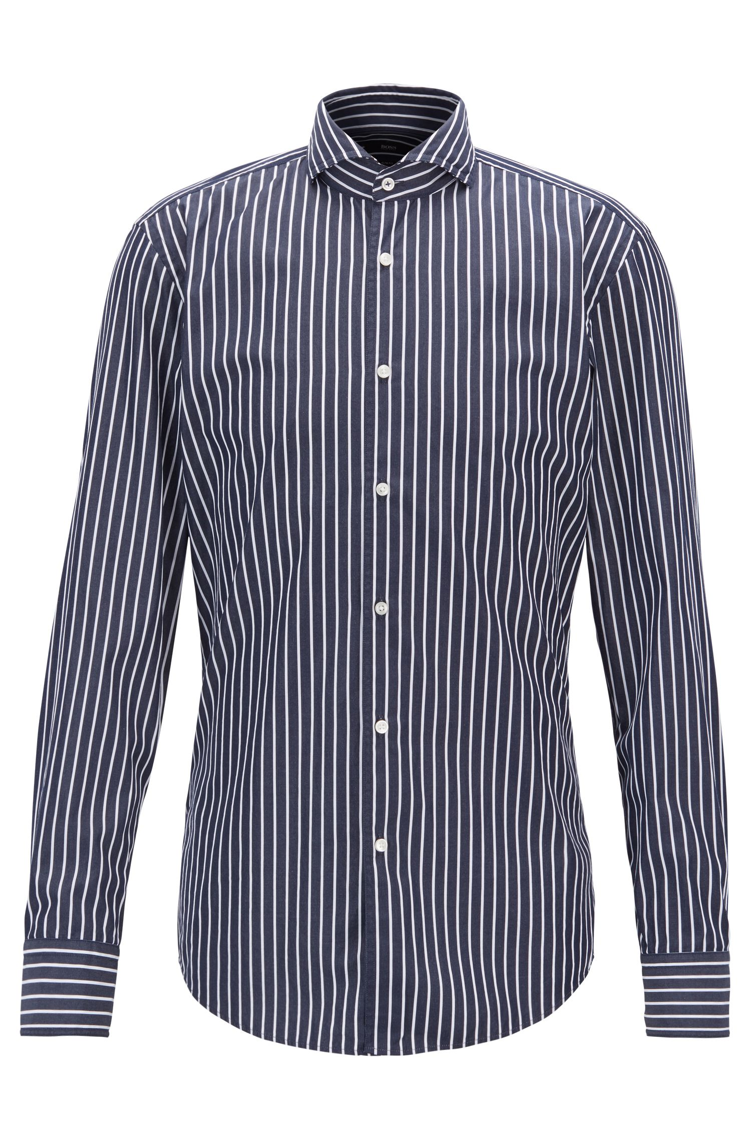Slim-fit shirt in butcher-striped cotton poplin, Dark Blue