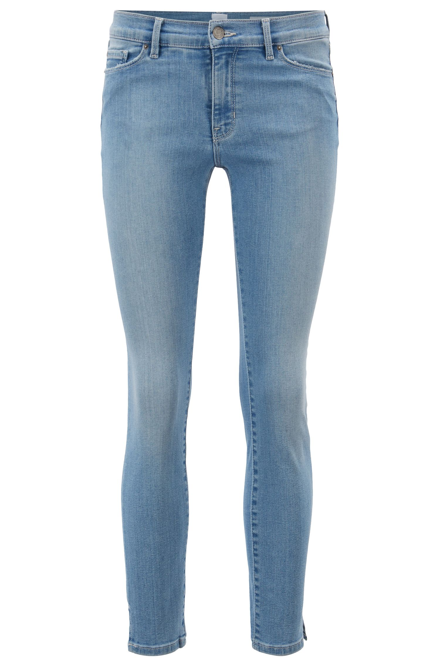 Skinny-fit jeans in bright-blue denim with hem slits, Turquoise