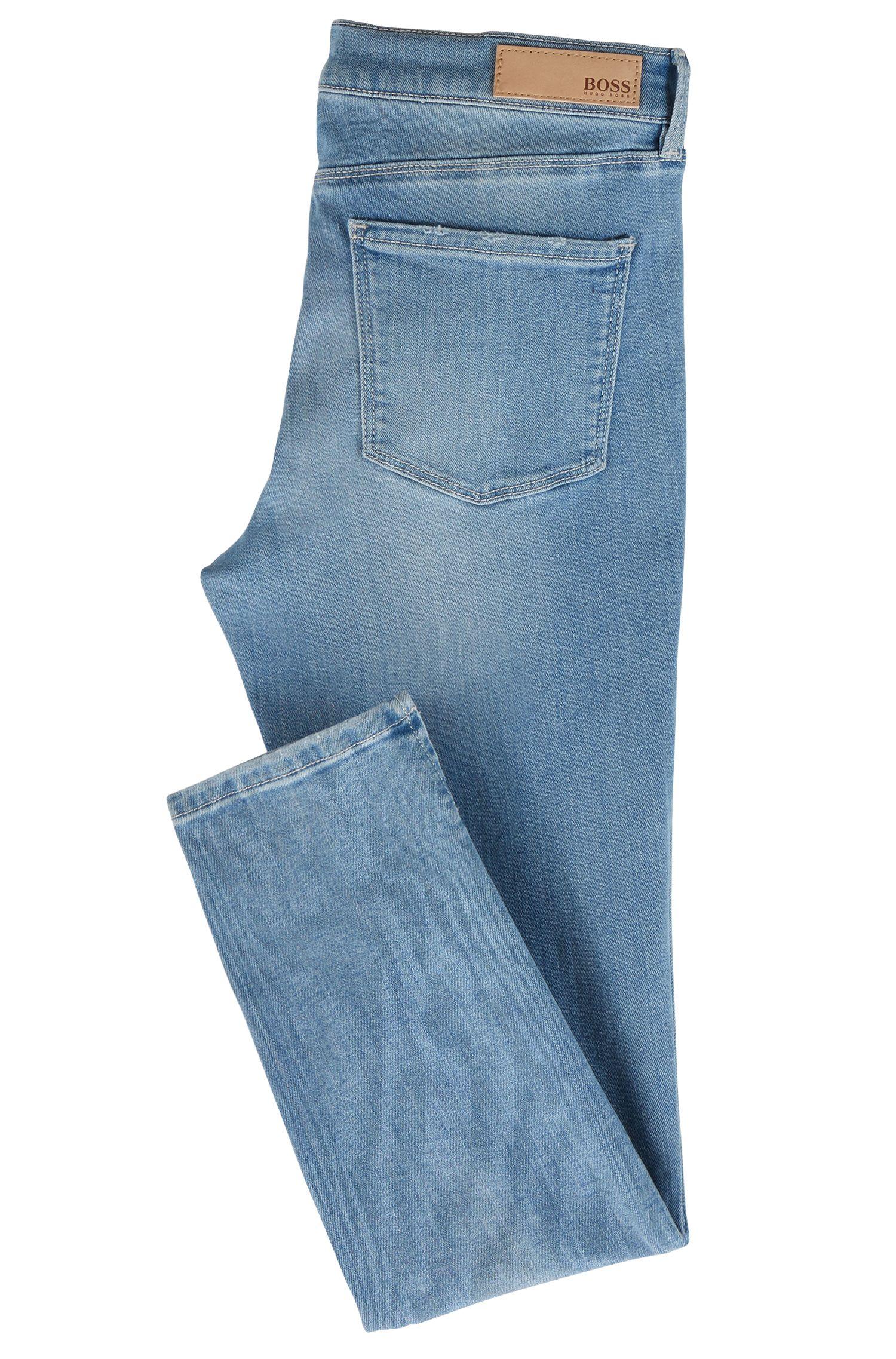 Jeans skinny fit in denim blu acceso con spacchi sul fondo gamba, Turchese
