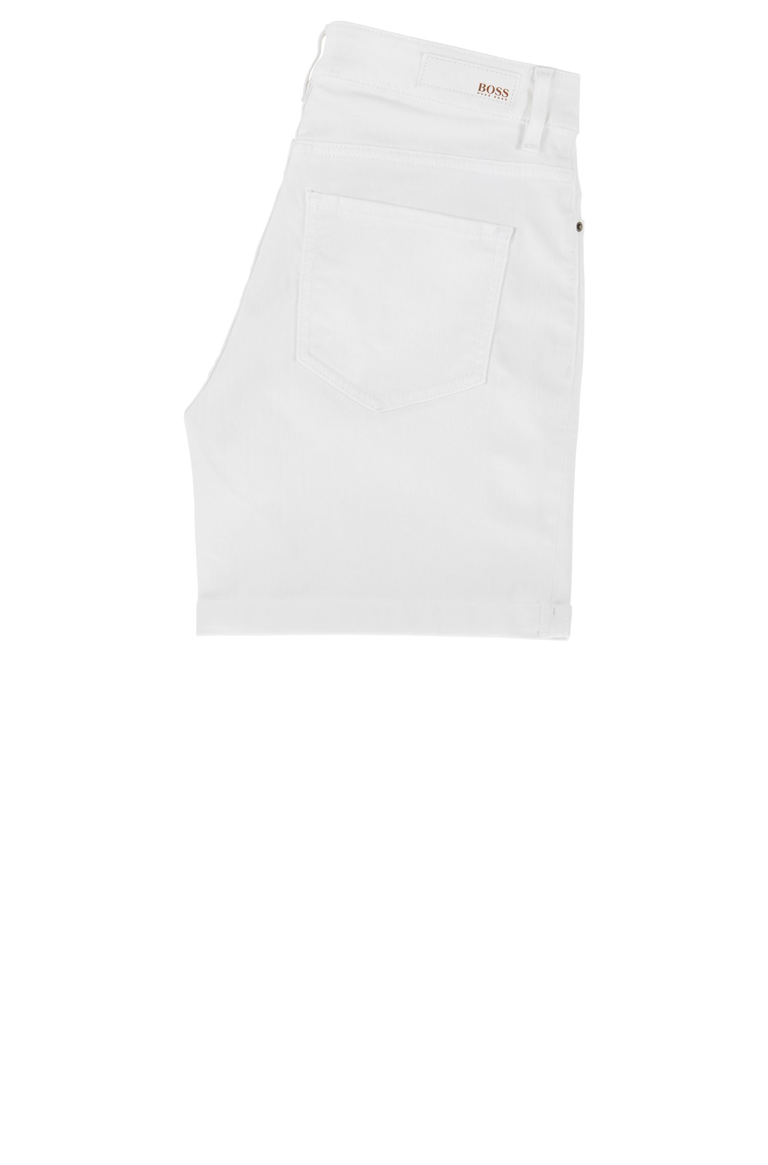 Relaxed-fit shorts in comfort-stretch denim, White