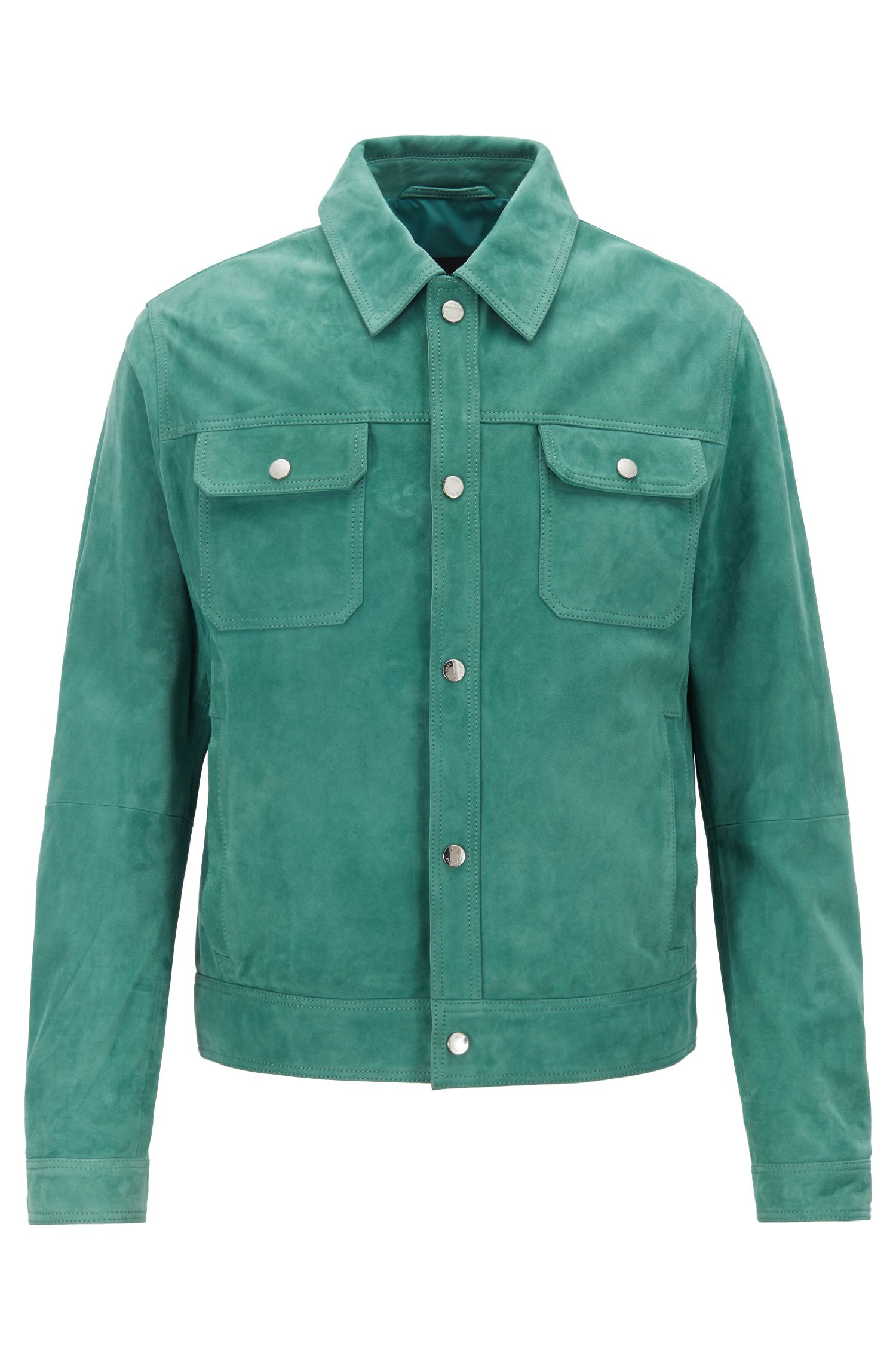 Regular-fit suede jacket with nappa-leather details, Green