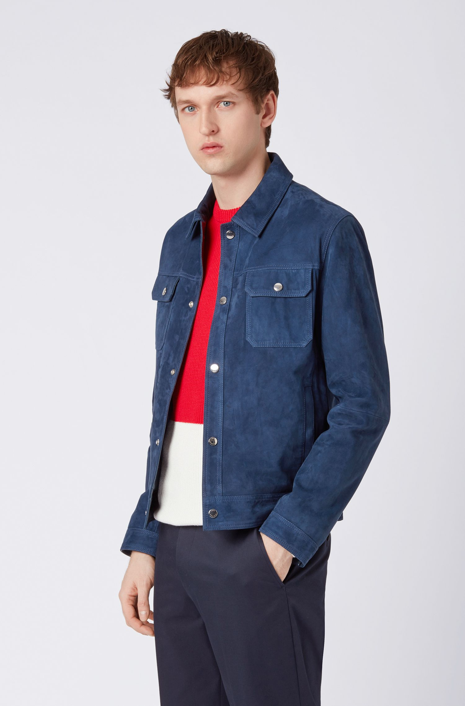 Regular-fit suede jacket with nappa-leather details, Dark Blue