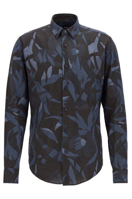 Slim-fit overhemd met exclusieve print, in een linnenmix, Donkerblauw