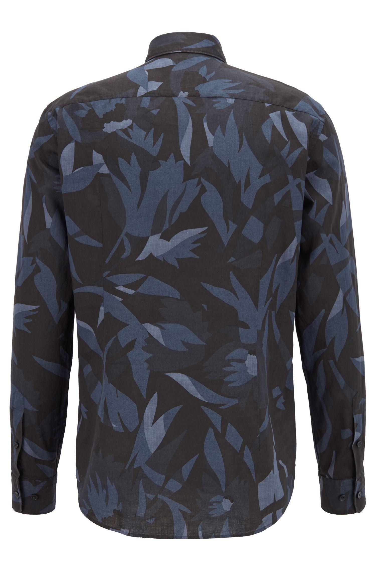 Slim-Fit Hemd aus Leinen und Baumwolle mit exklusivem Print, Dunkelblau