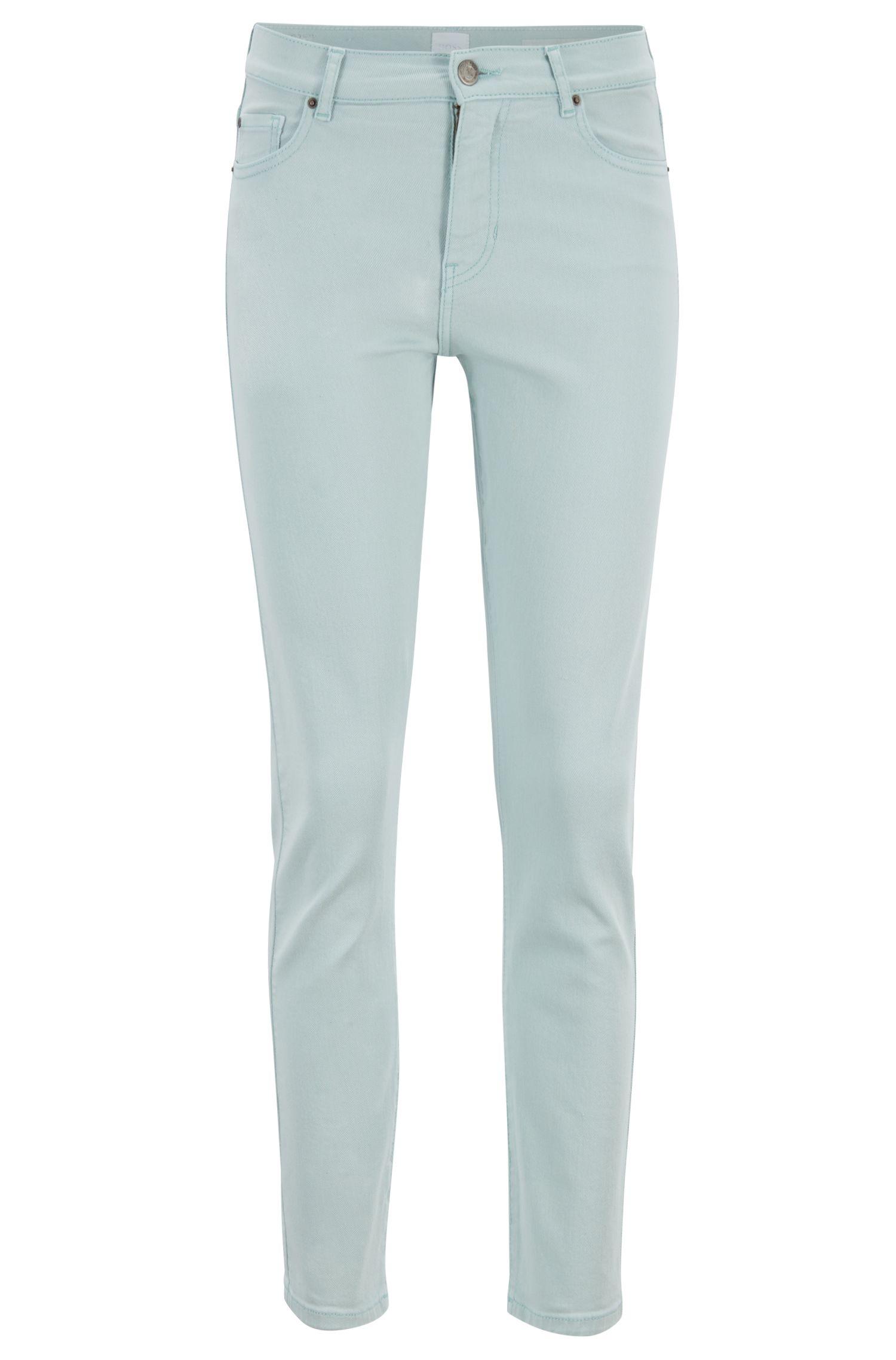 Slim-Fit Cropped-Jeans aus pastellfarbenem Denim, Hellblau