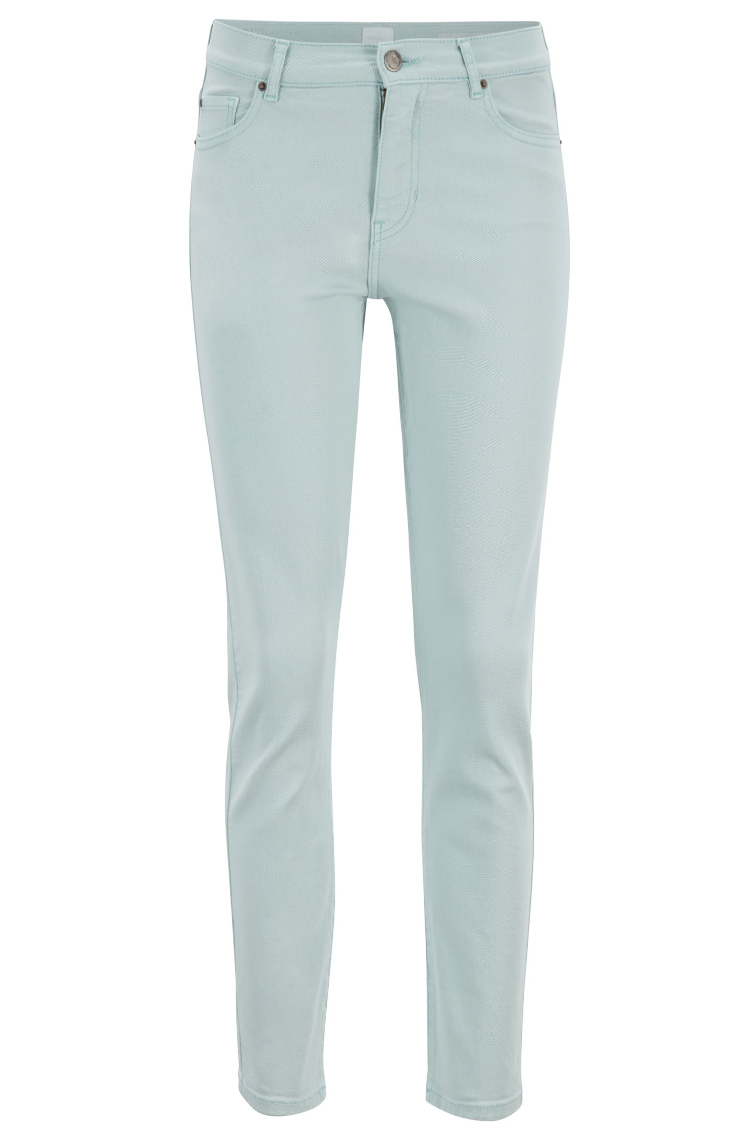 Slim-fit cropped jeans in pastel-coloured denim, Open Blue