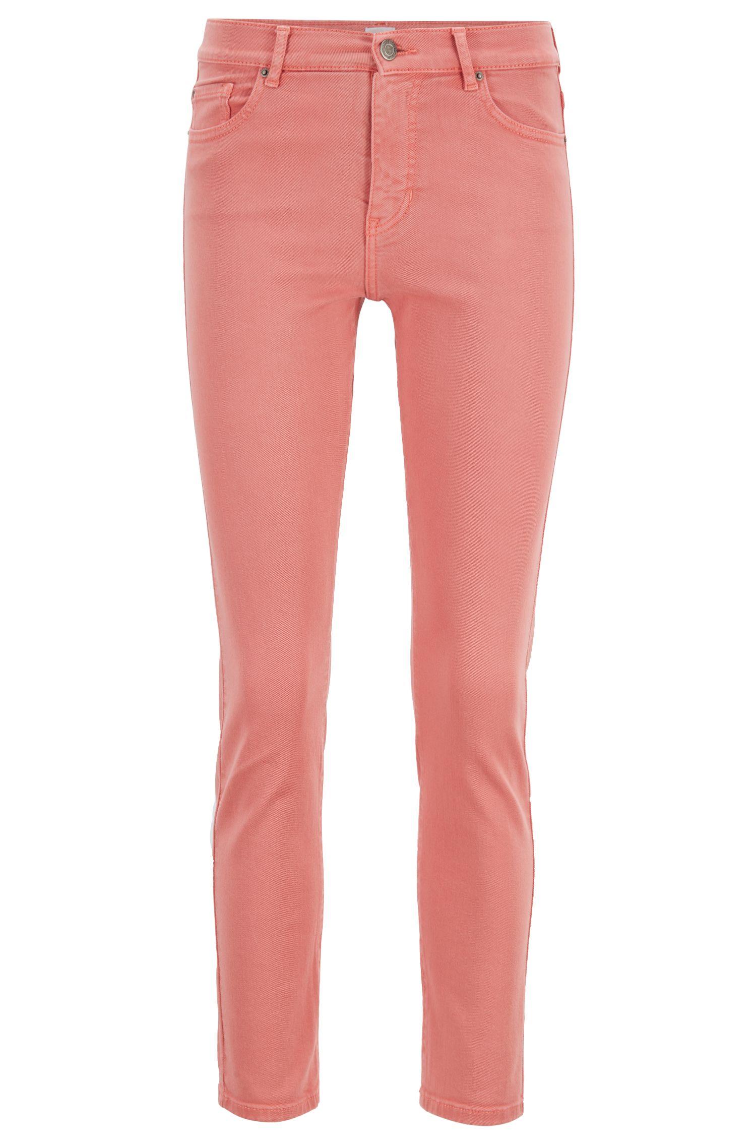 Vaqueros slim fit de estilo tobillero en denim de color pastel, Naranja claro