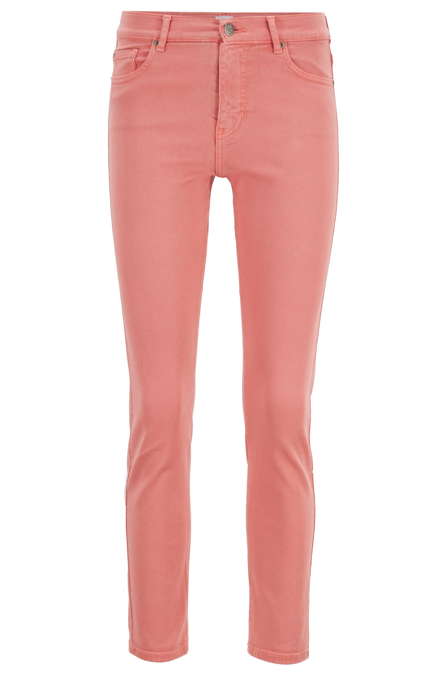 Slim-Fit Cropped-Jeans aus pastellfarbenem Denim, Hellorange