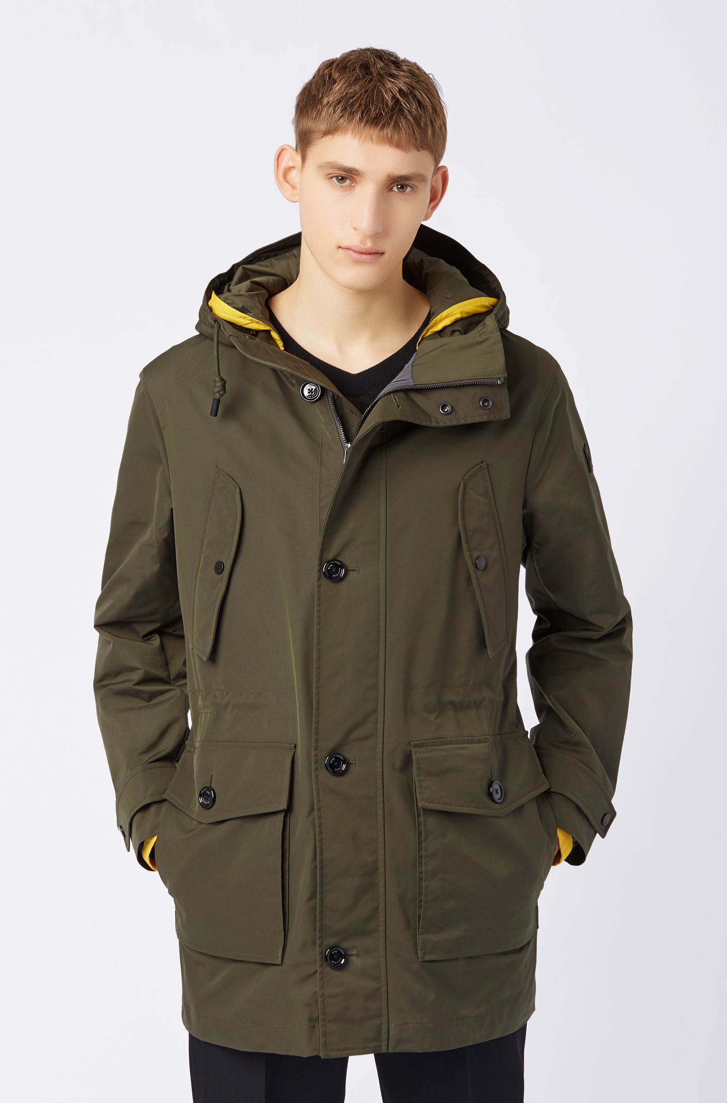 Relaxed-fit padded parka with double hood, Dark Green