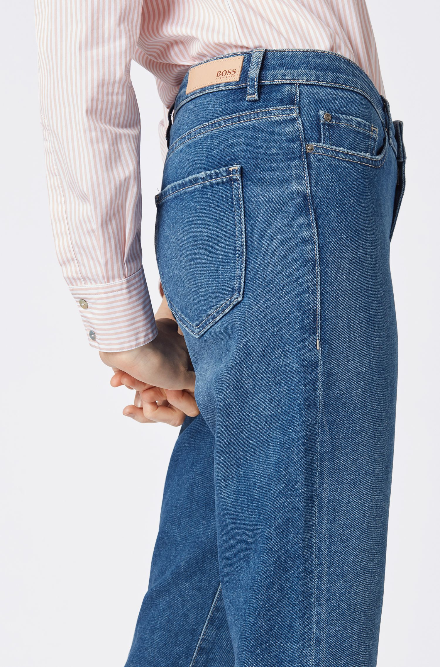 Regular-fit mid-blue jeans with cropped leg, Blue