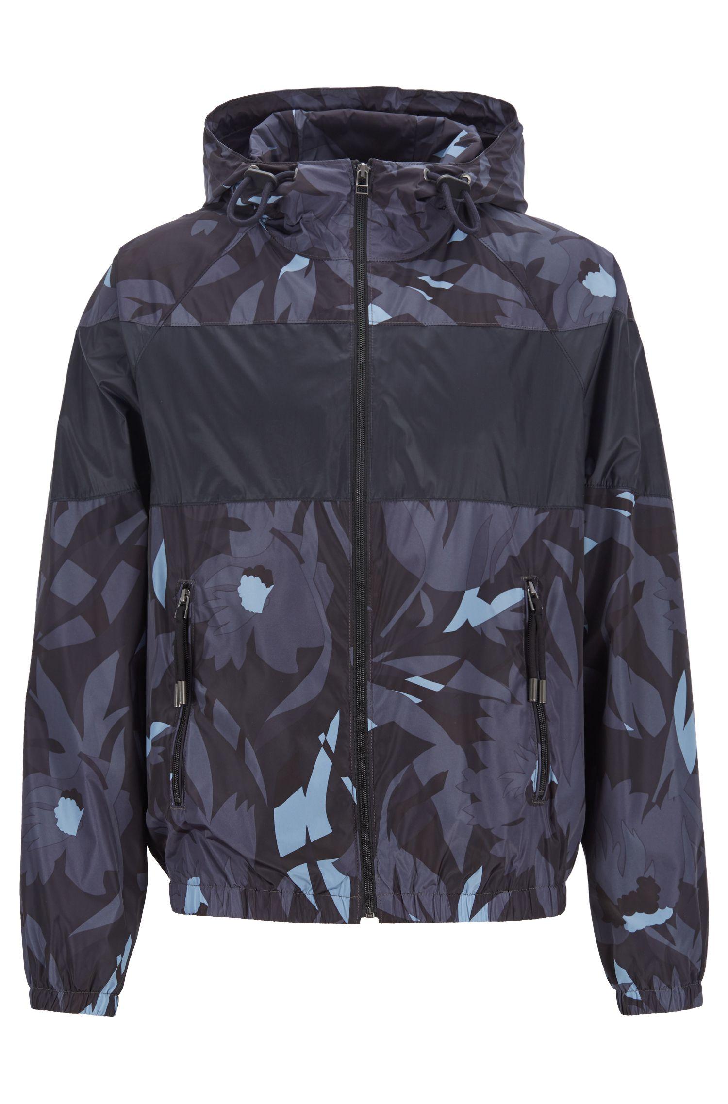 Opvouwbaar windjack met camouflageprint en inzetstuk met blokkleur, Donkerblauw