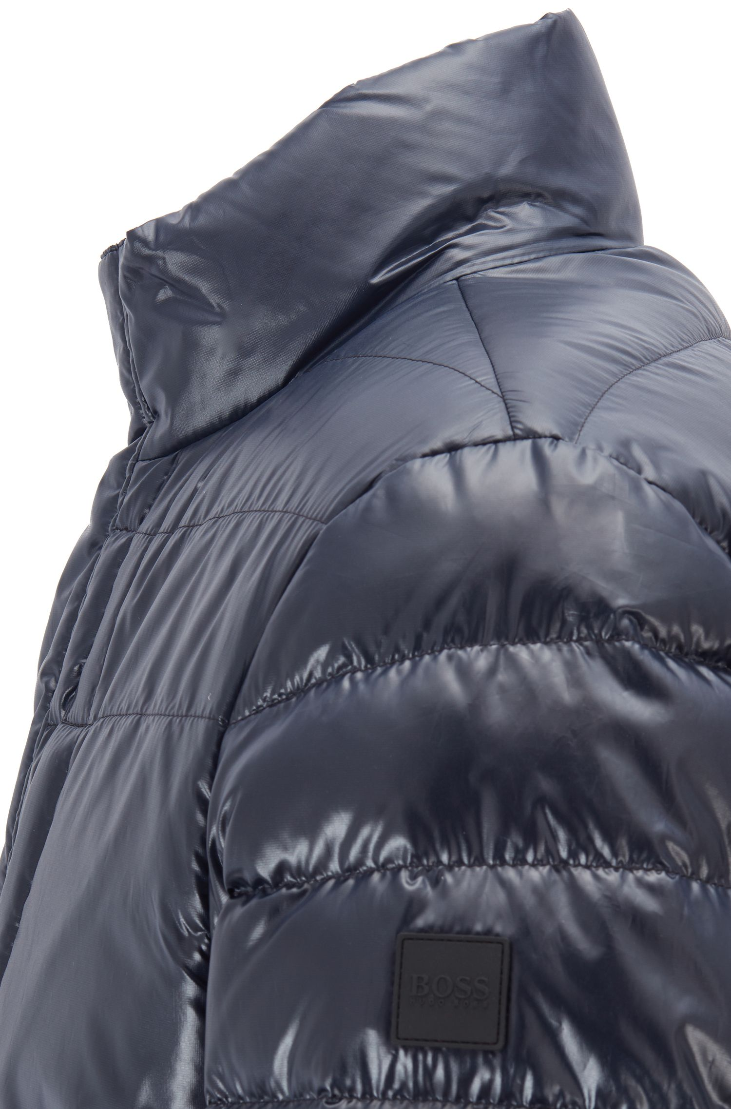 Quilted jacket in water-repellent glossy fabric, Dark Blue