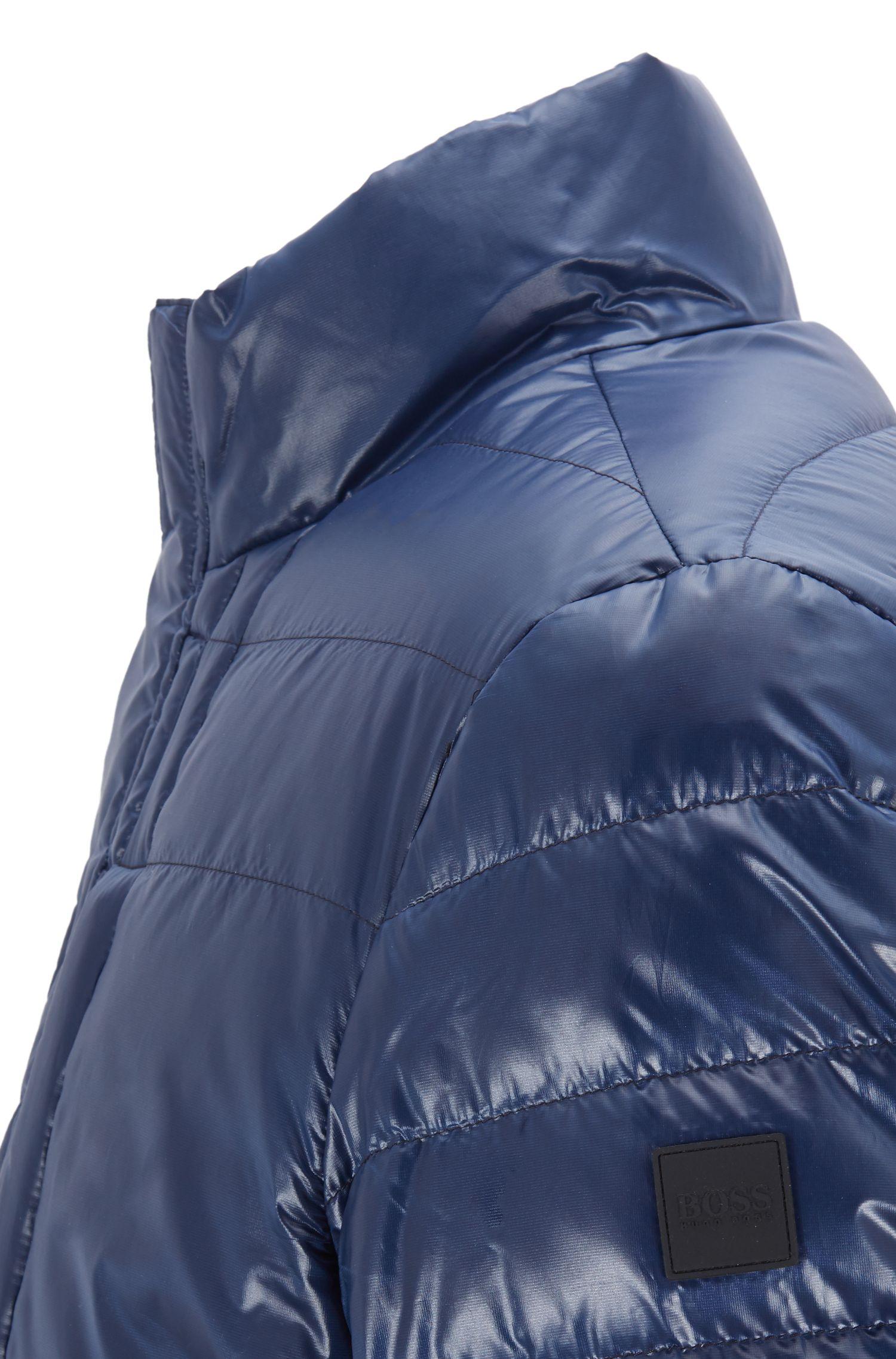 Veste matelassée en tissu déperlant brillant, Bleu foncé