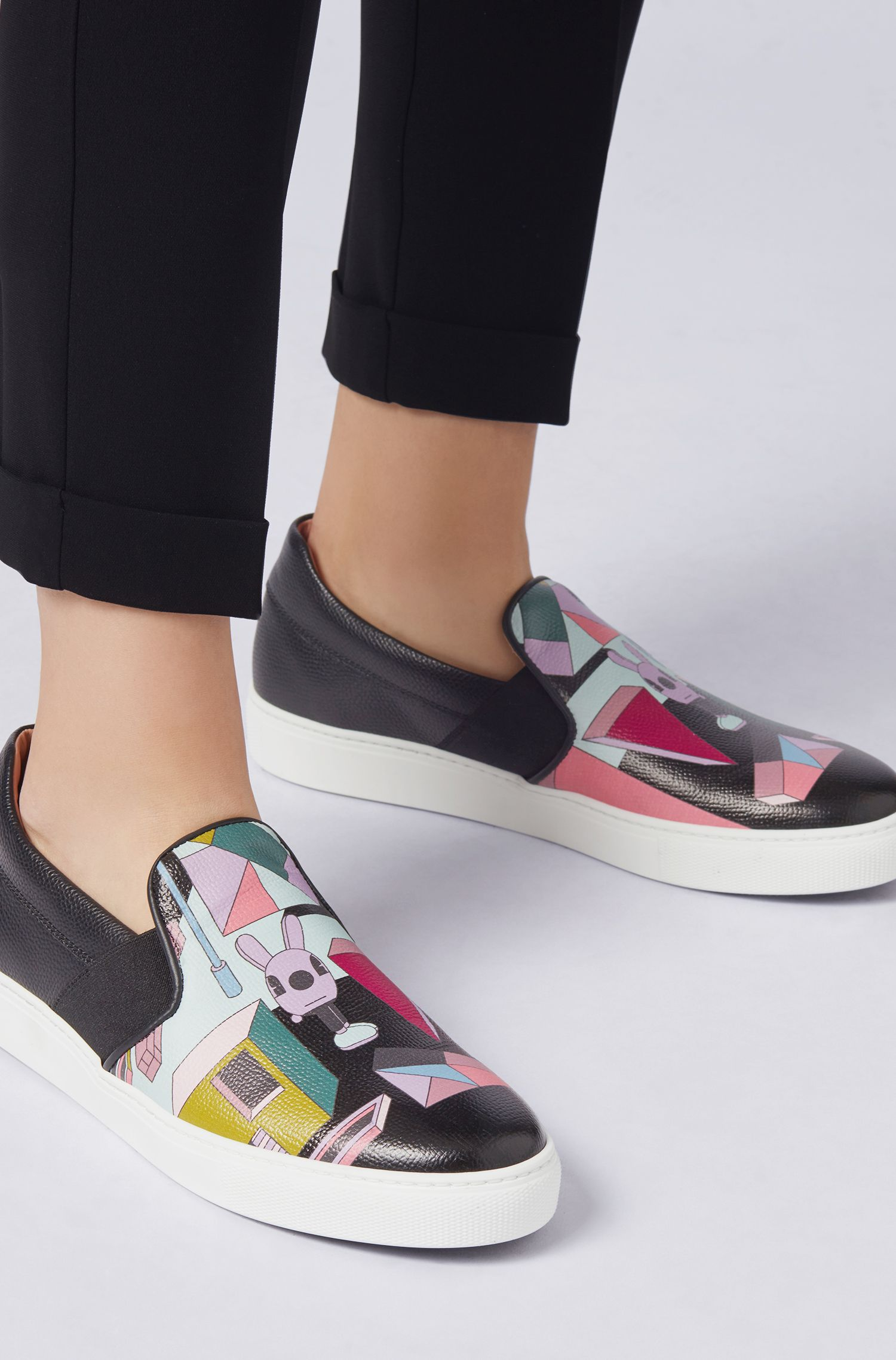 Limited-edition slip-on trainers with Jeremyville landscape print, Patterned