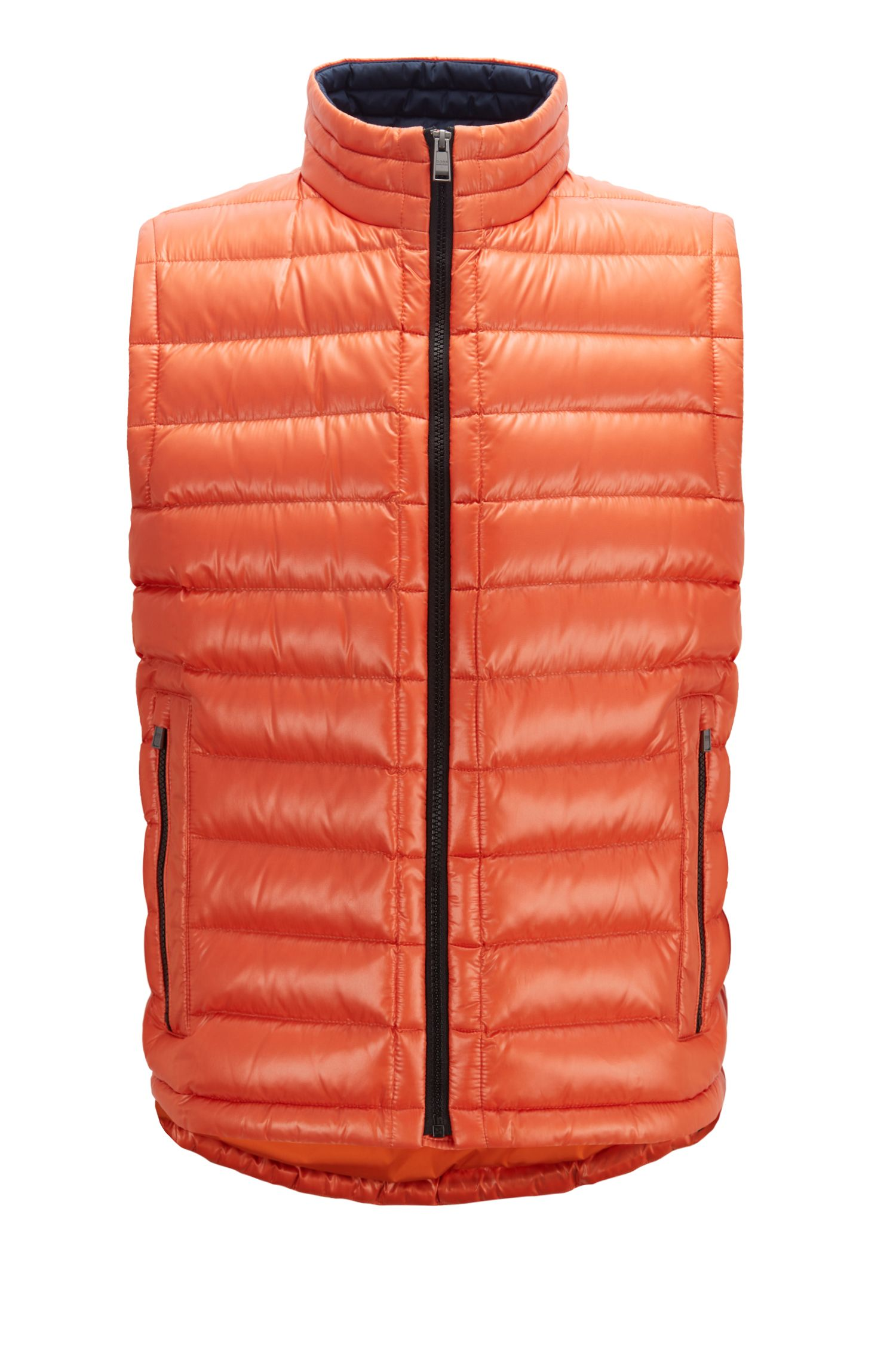 Regular-fit gilet in glossy water-repellent fabric, Orange