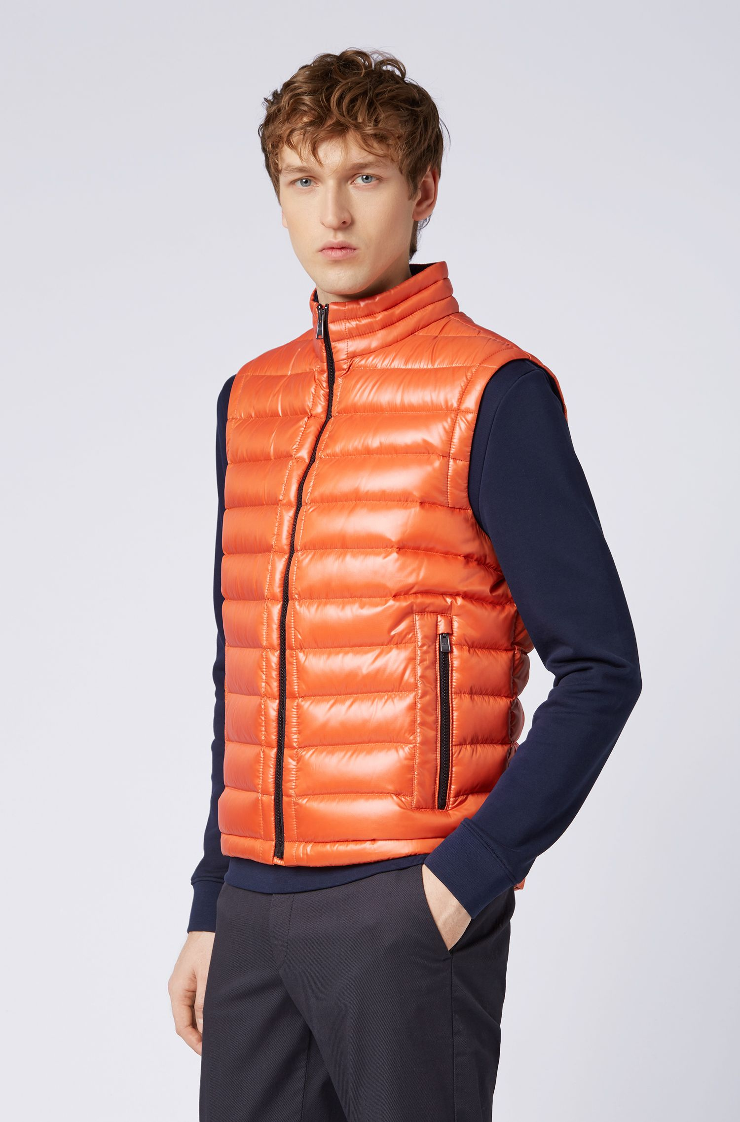 Veste sans manches Regular Fit en tissu déperlant brillant, Orange