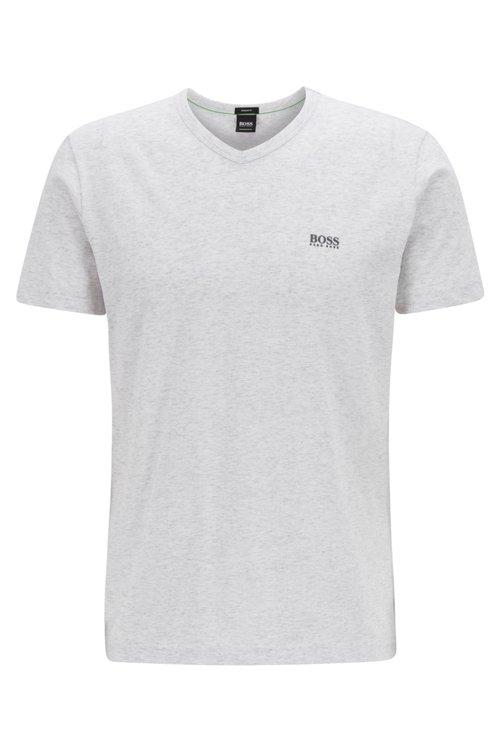 Hugo Boss - Camiseta de cuello en pico en algodón con logo del hombro en contraste - 1