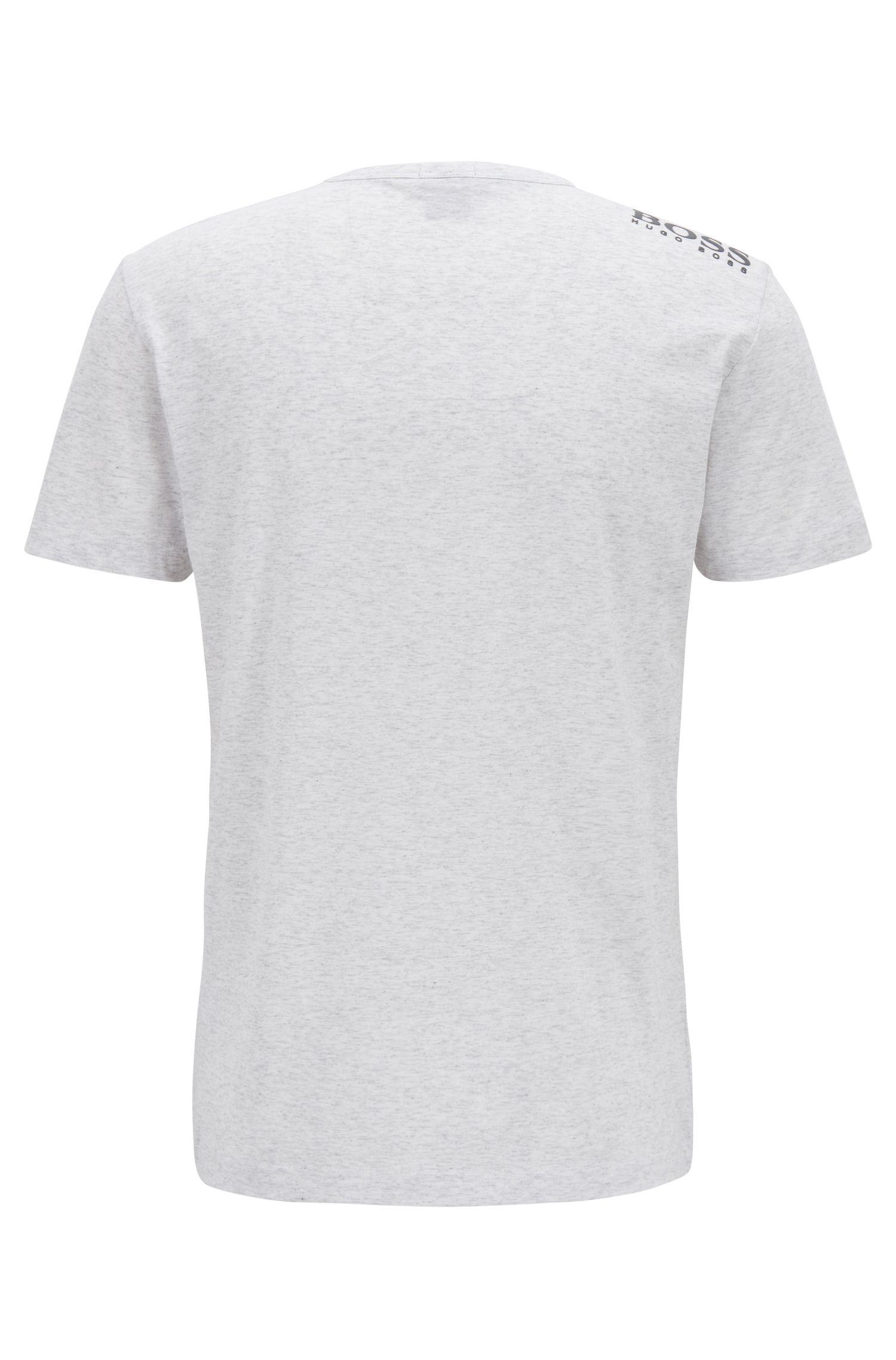 T-Shirt aus Baumwolle mit V-Ausschnitt und Kontrast-Logo an der Schulter, Hellgrau