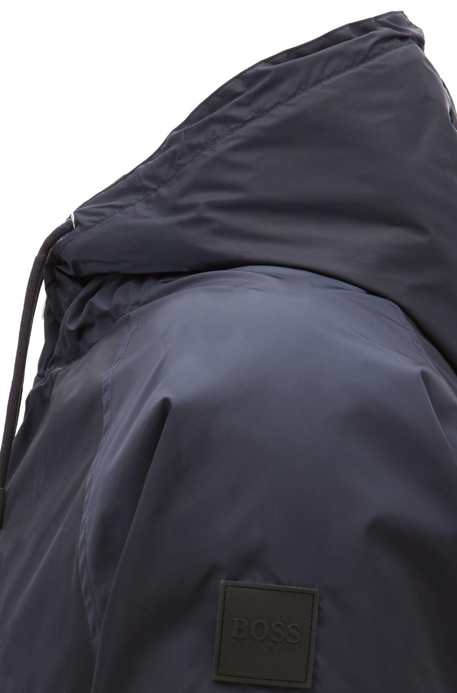Veste légère en tissu déperlant à double capuche, Bleu foncé